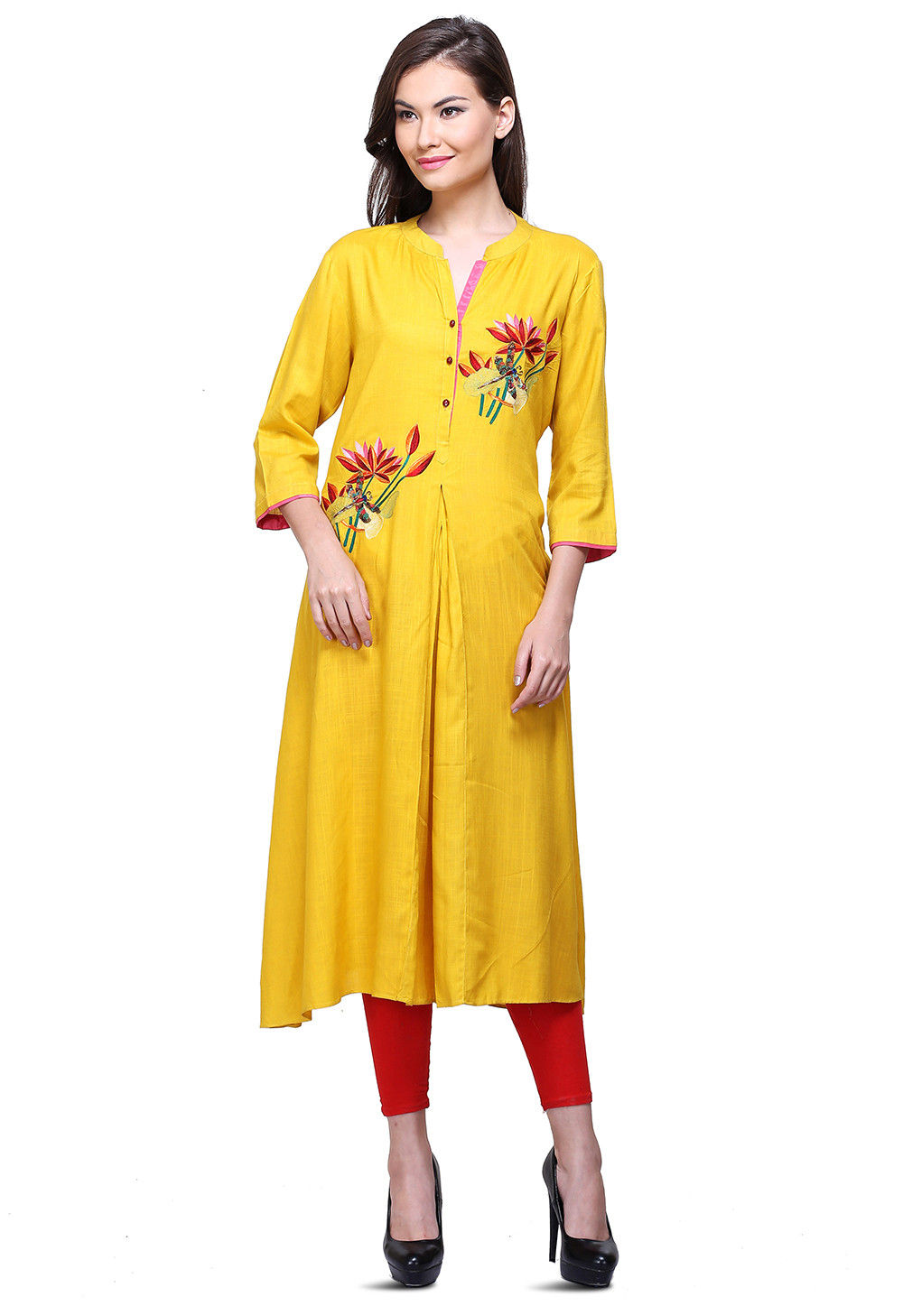 Aari Embroidered Cotton Rayon Flared Kurta in Mustard
