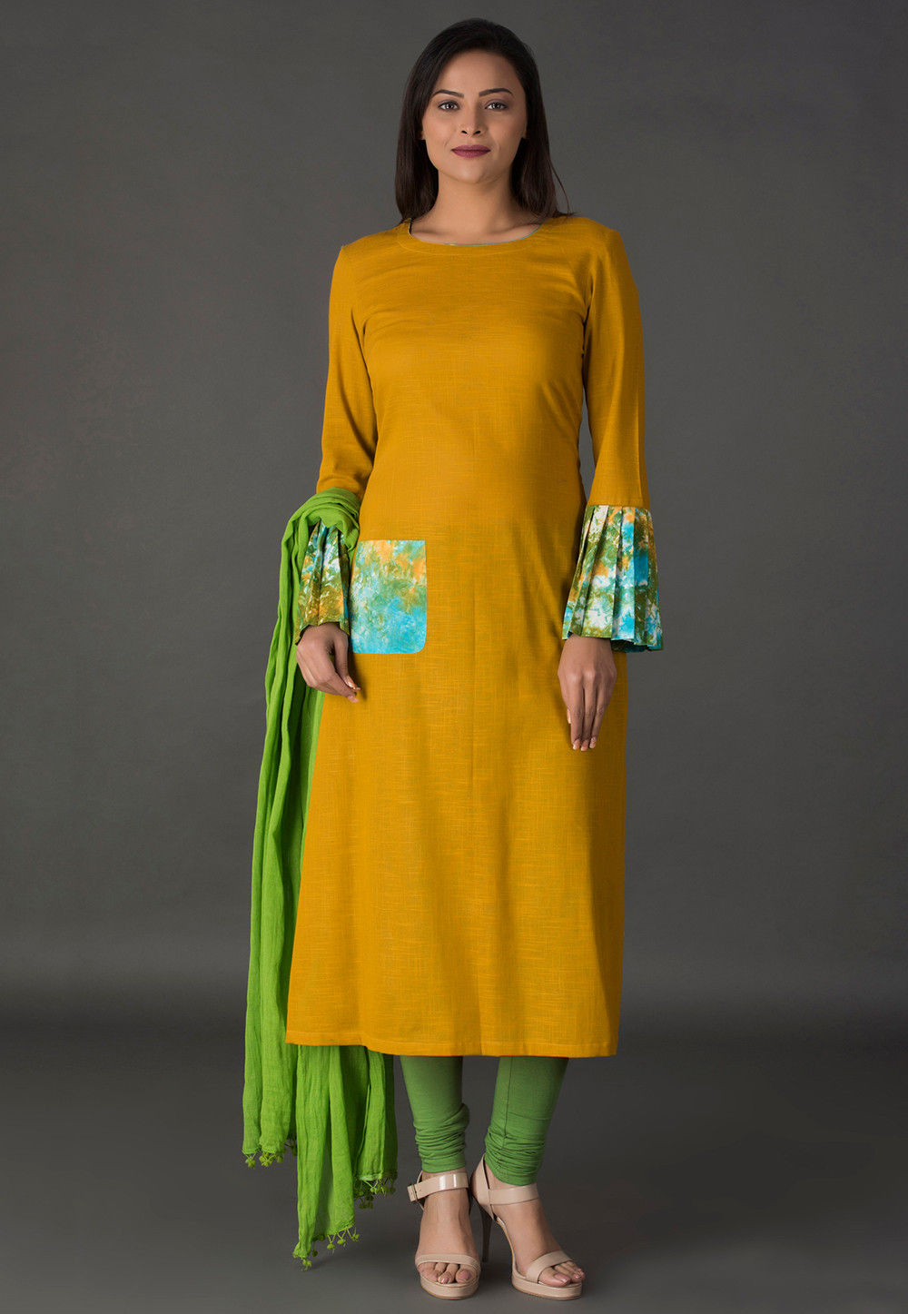 Abstract Printed Cotton Slub Straight Suit in Mustard