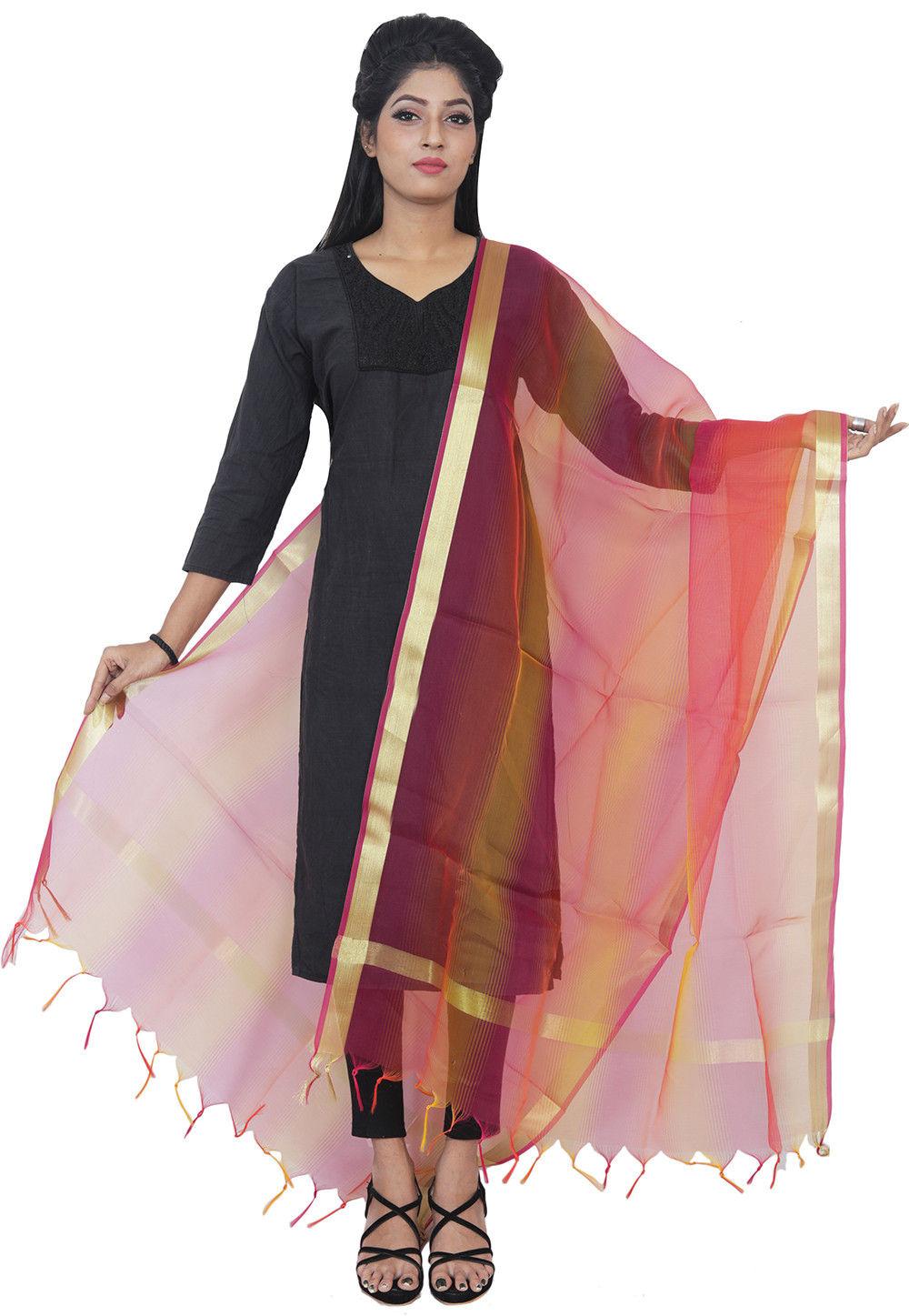 Art Silk Dupatta in Multicolor