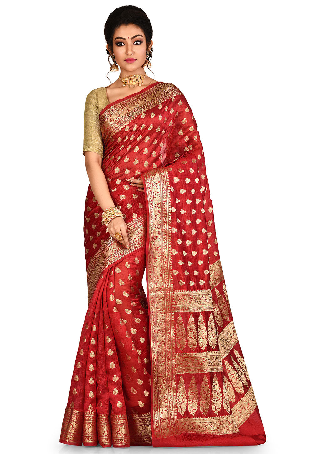d72153c0dd Banarasi Pure Silk Saree in Red : SNEA1646