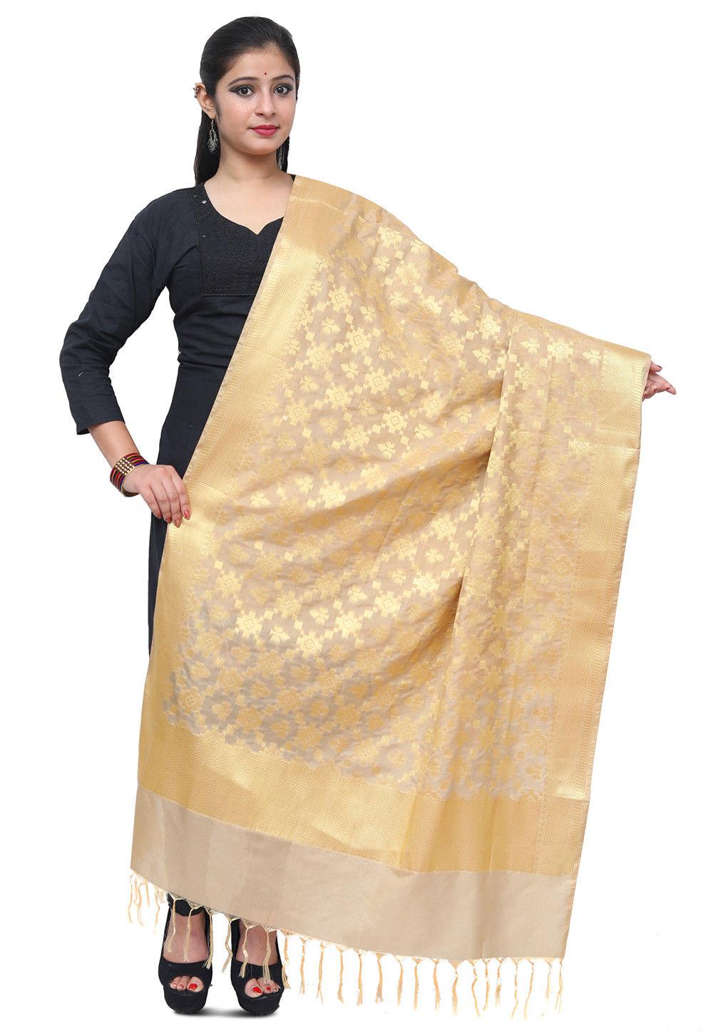 Banarasi Silk Dupatta in Light Beige