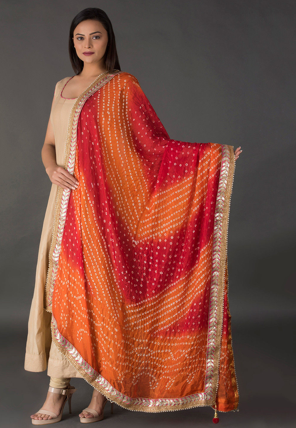 Bandhej Printed Art Silk Dupatta in Mustard and Red