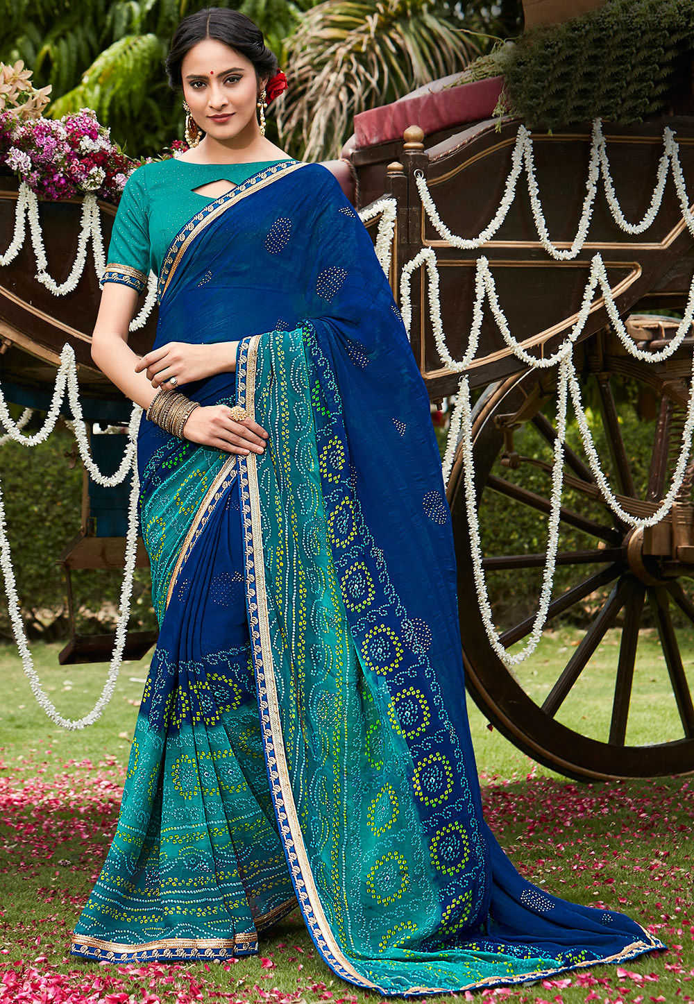 79a46cec14465 Bandhej Printed Chiffon Saree in Royal Blue and Teal Green   SSF5789