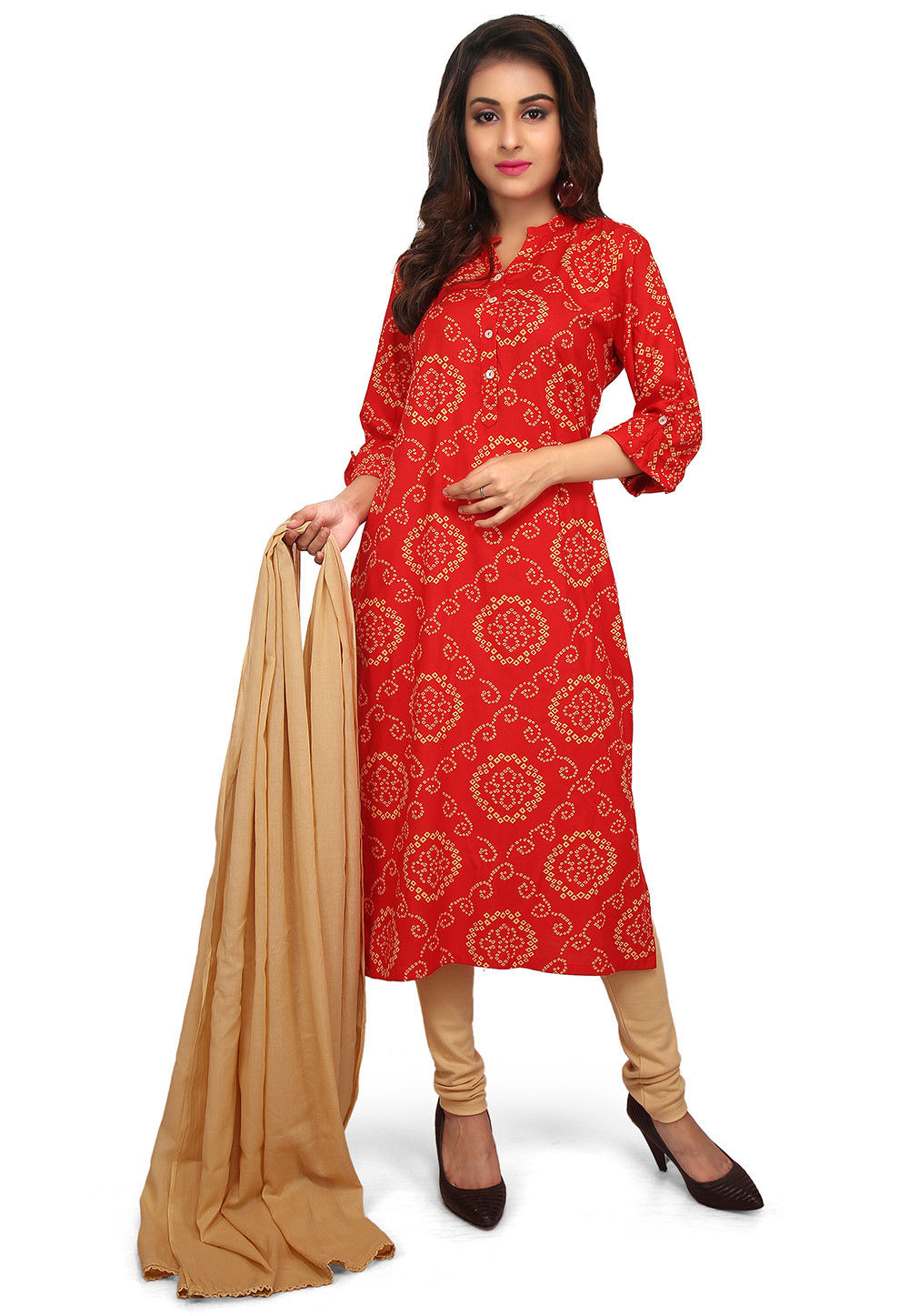 Bandhej Printed Cotton Rayon Straight Suit in Red