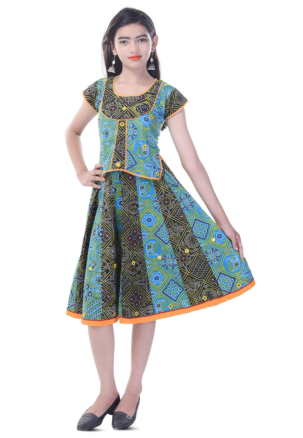 Bandhej Printed Cotton Top Set in Blue and Black
