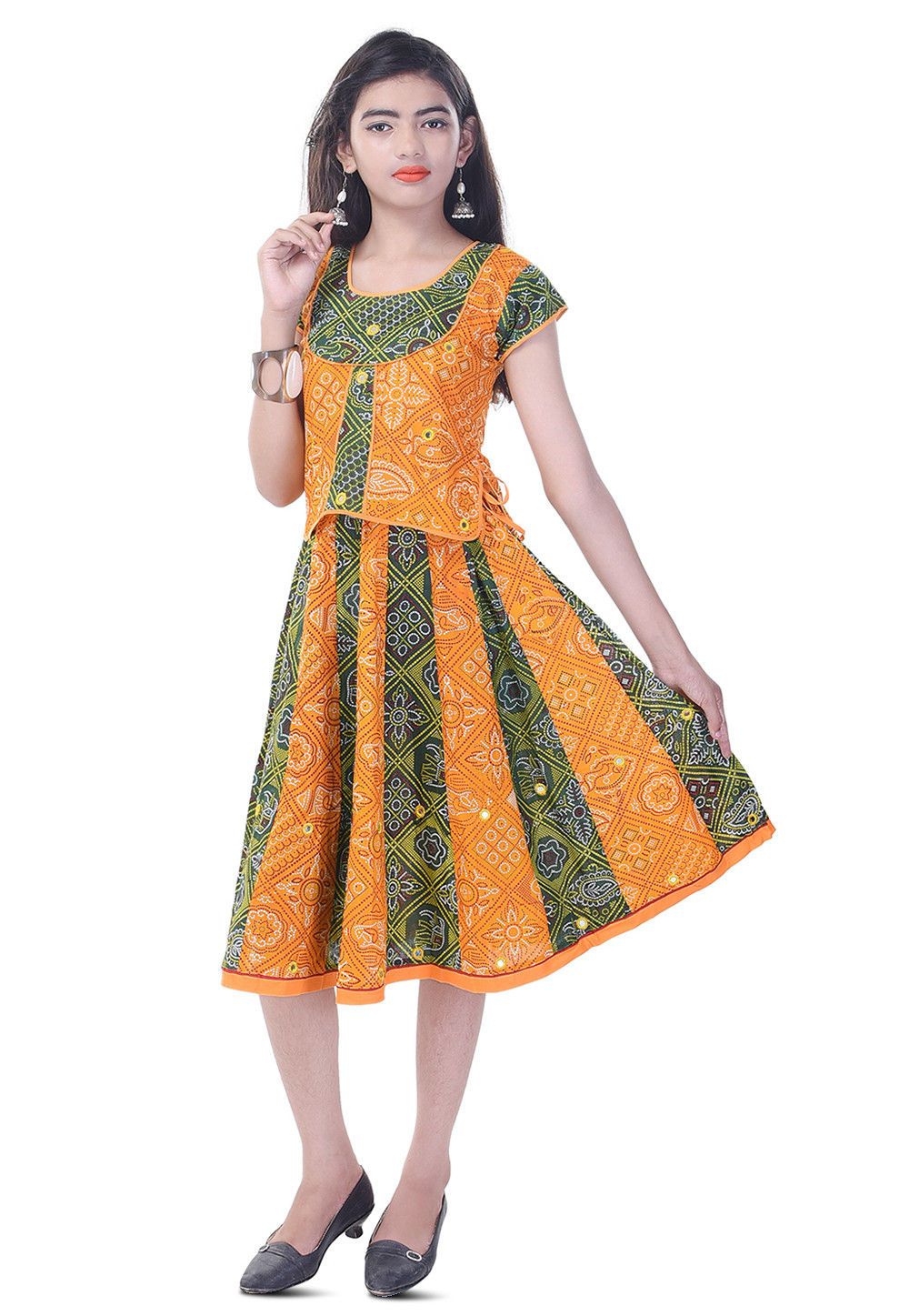 Bandhej Printed Cotton Top Set in Mustard and Green