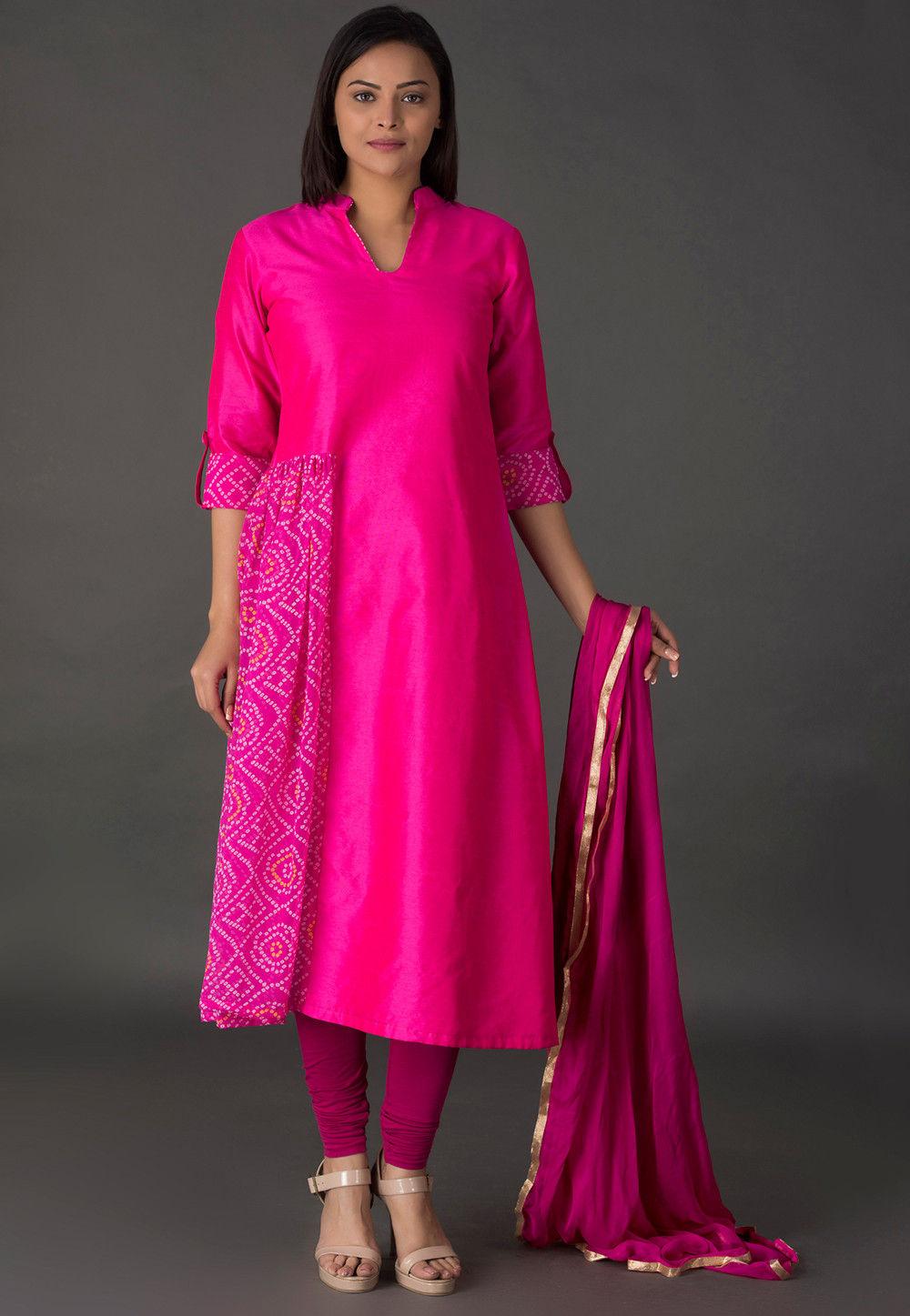 Bandhej Printed Dupion Silk A Line Suit in Fuchsia