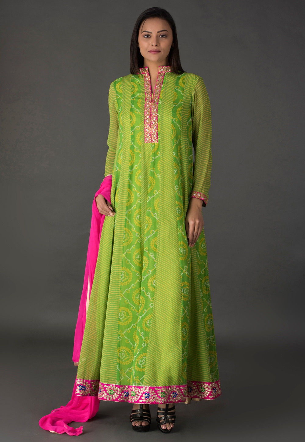 Bandhej Printed Georgette Abaya Style Suit in Light Green