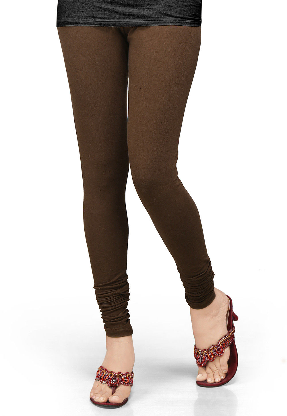 Cotton Lycra Leggings In Dark Brown