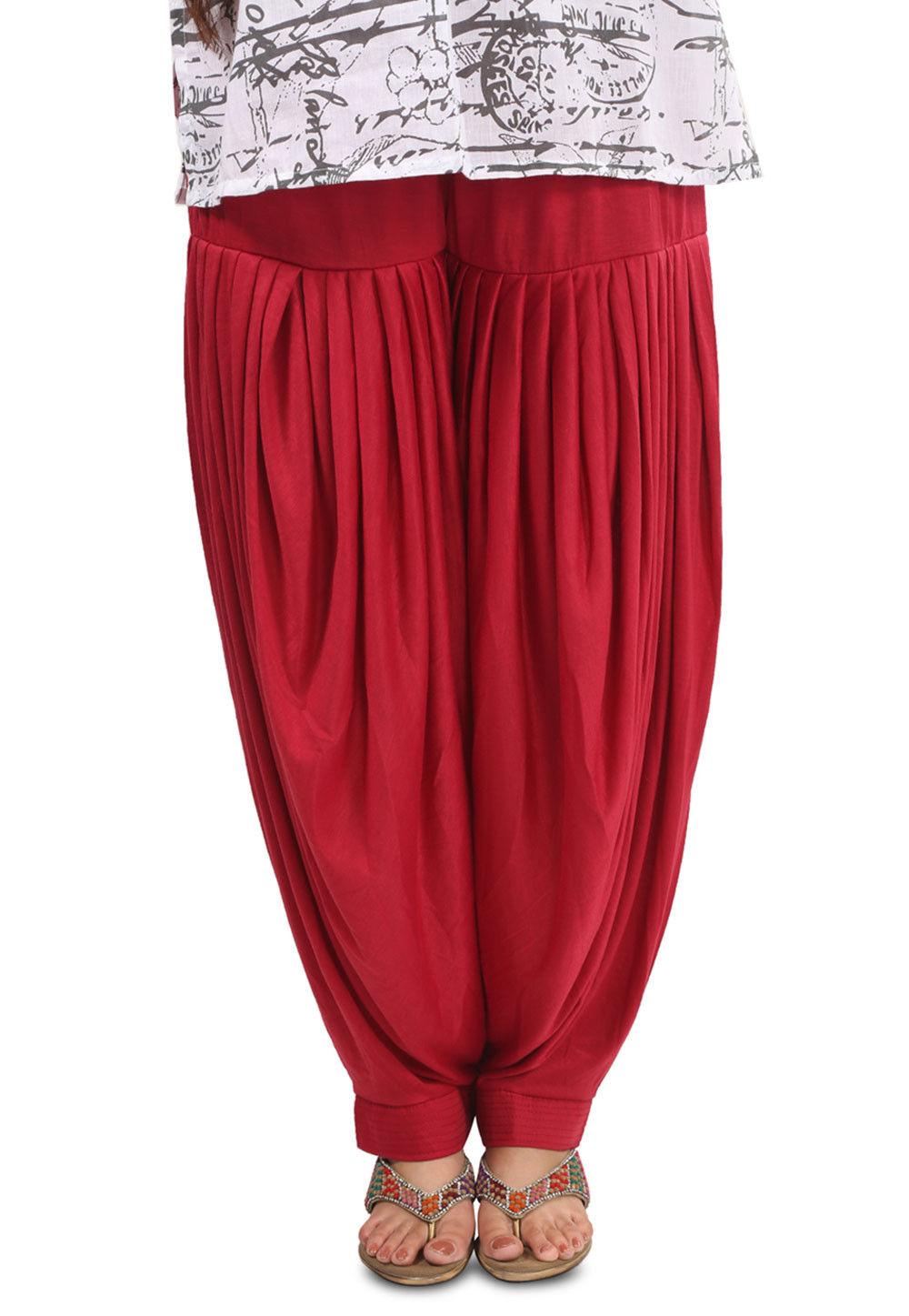 Plain Cotton Lycra Patiala Salwar in Red