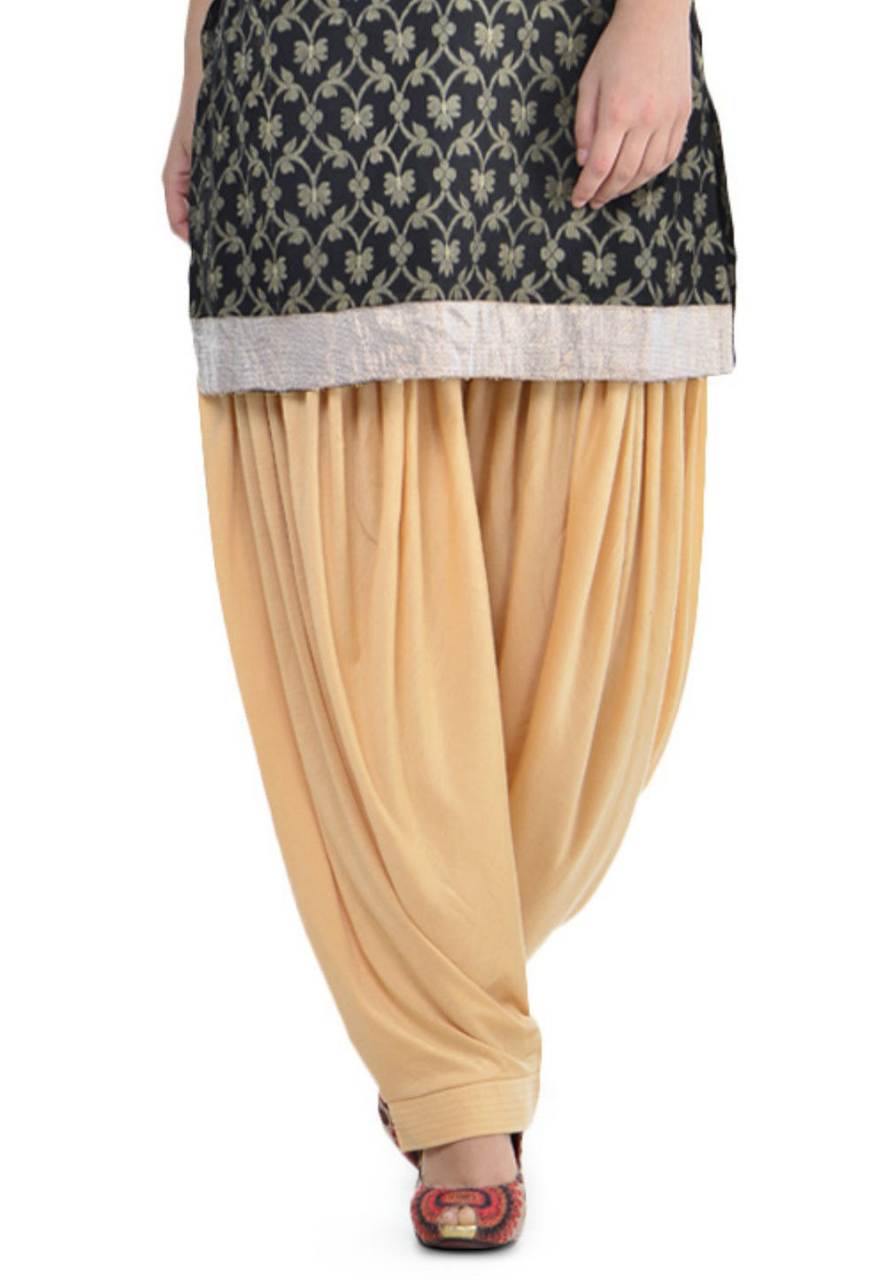 Plain Cotton Lycra Patiala Salwar in Beige