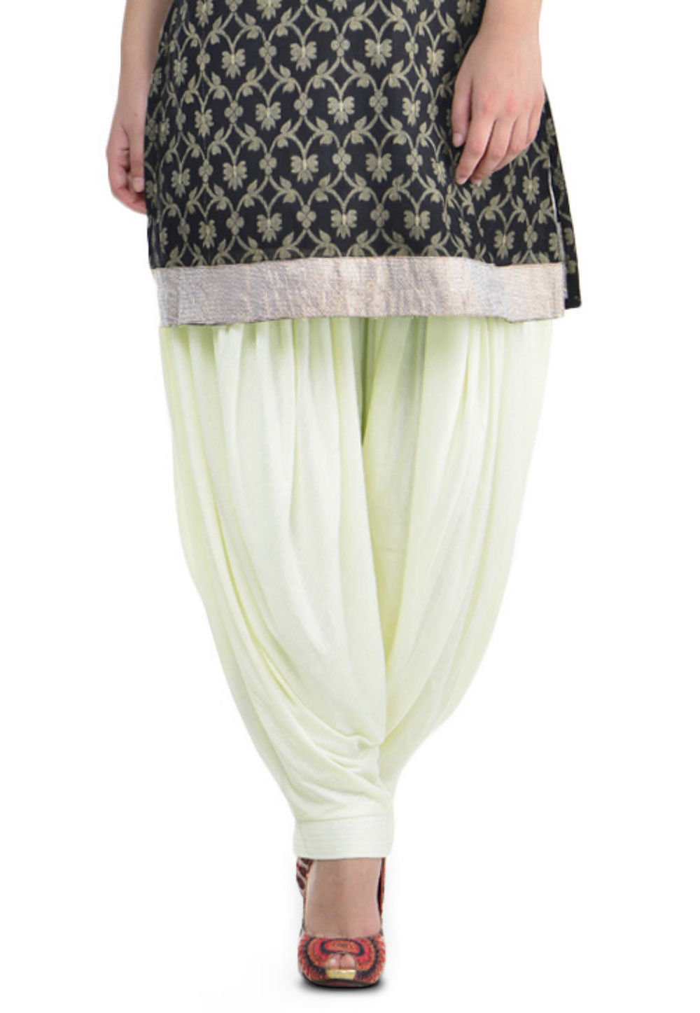 Plain Cotton Lycra Patiala Salwar in Cream