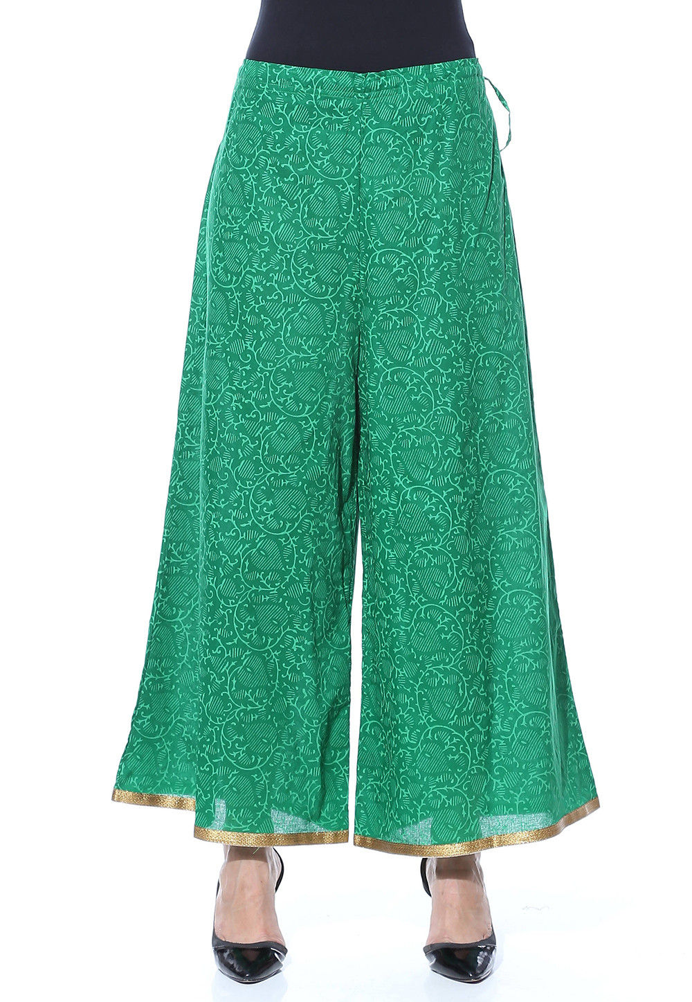 Block Printed Cotton Palazzo in Green