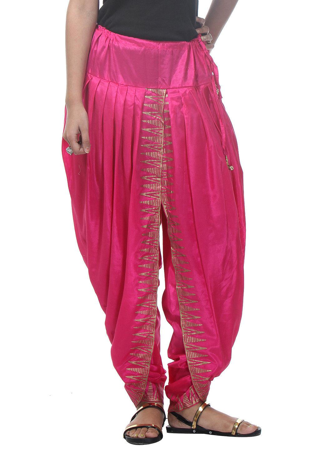 Block Printed Shantoon Dhoti Pant in Pink