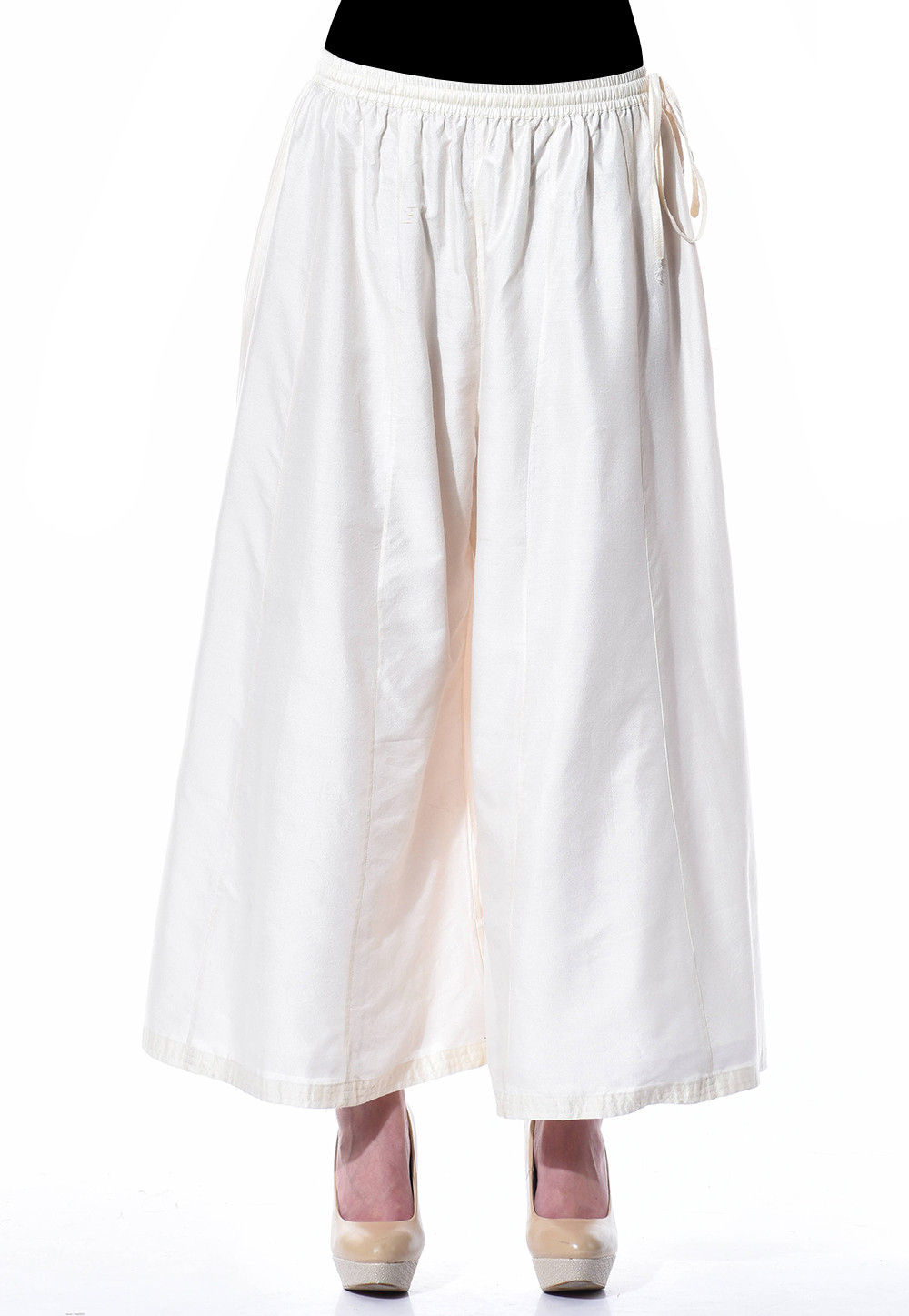 Plain Cotton Silk Palazzo in White