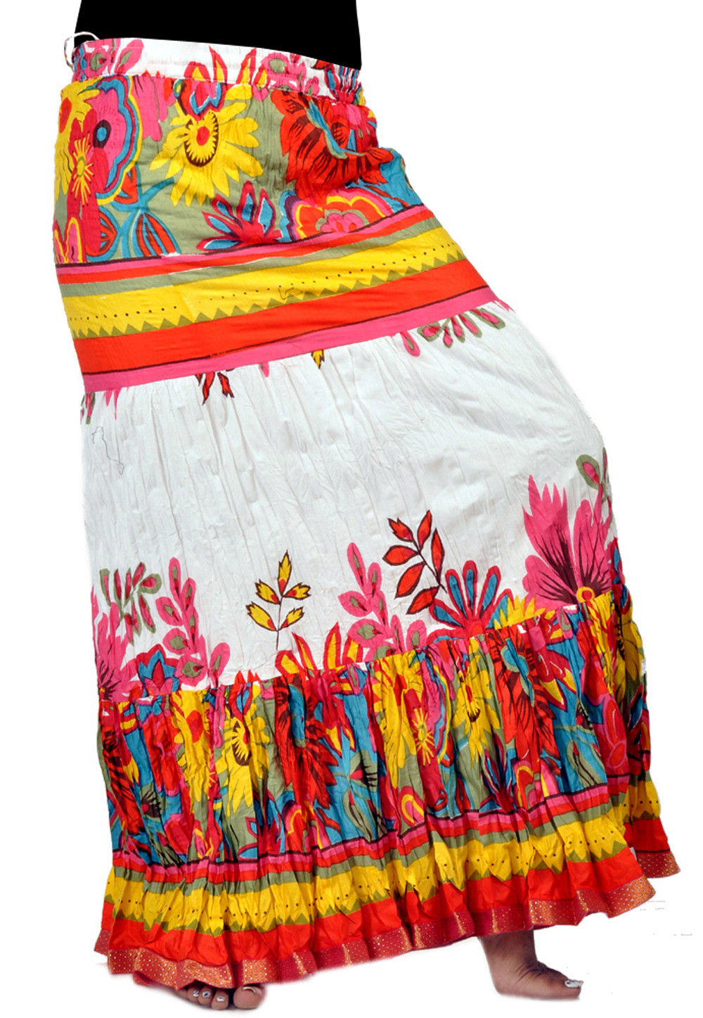 Printed Cotton Skirt in Multicolor