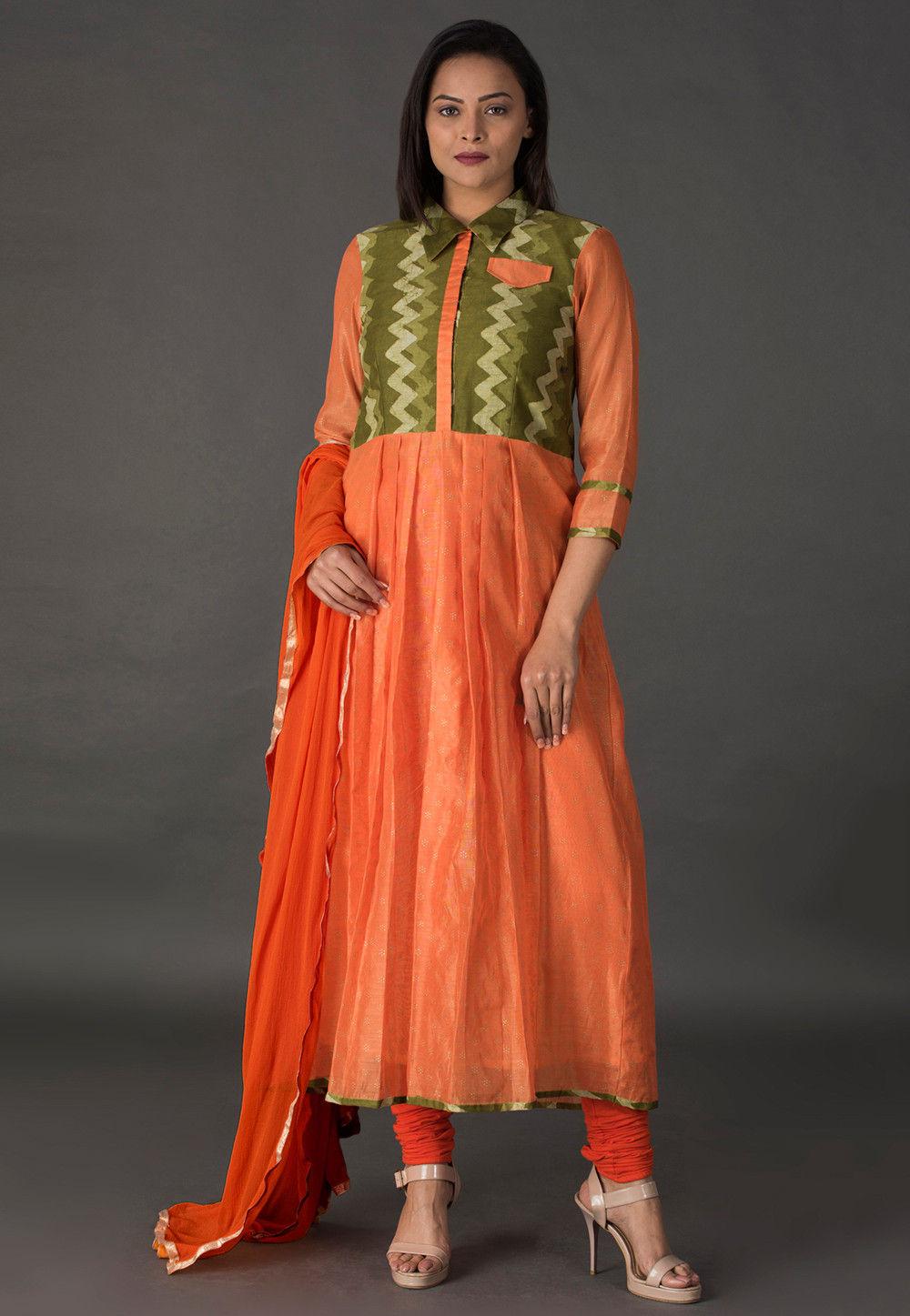 Block Printed Chanderi Silk A Line Suit in Orange and Green
