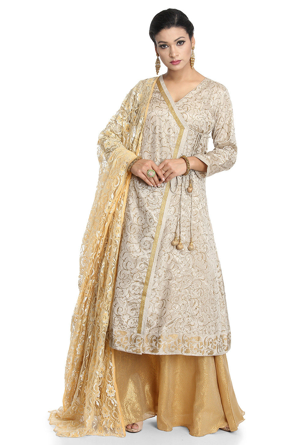 Block Printed Chanderi Silk Lehenga in Light Grey
