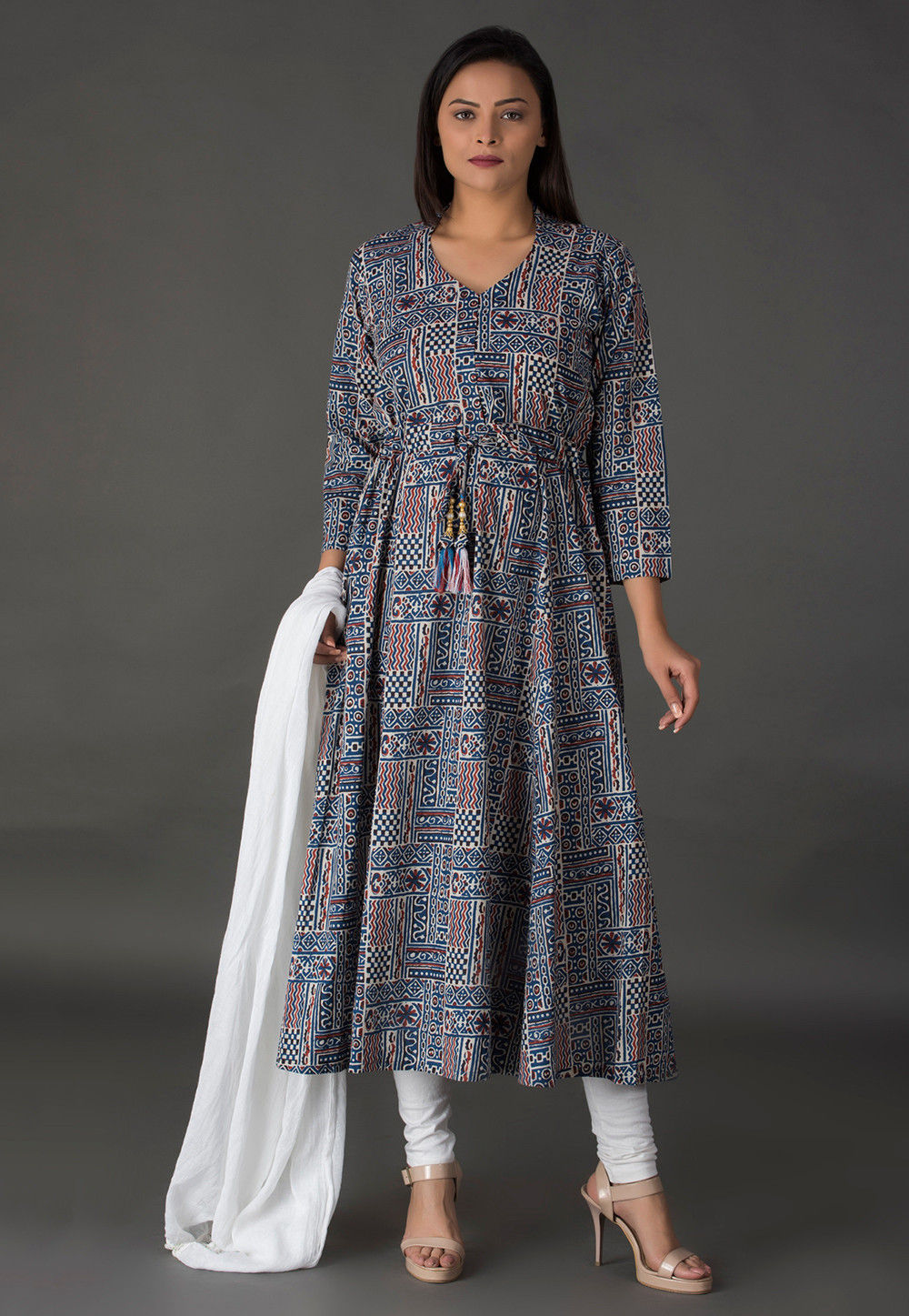 Block Printed Cotton A Line Suit in Blue