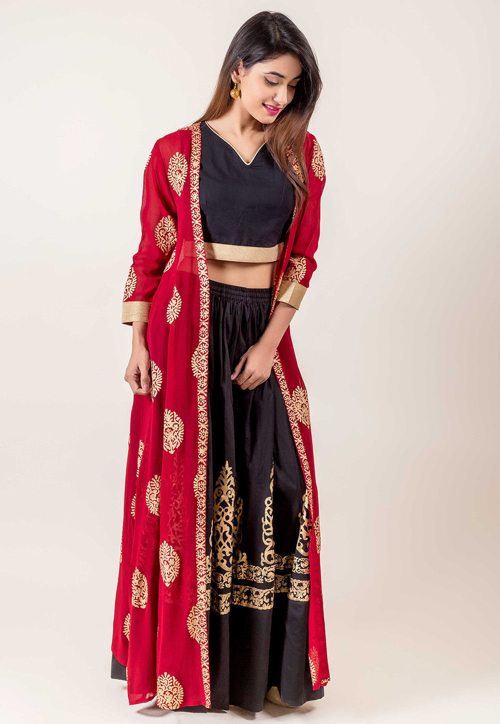 f4a0c70ca31 ... Block Printed Cotton Crop Top Jacket Set in Black and Maroon. Zoom.  View Similar