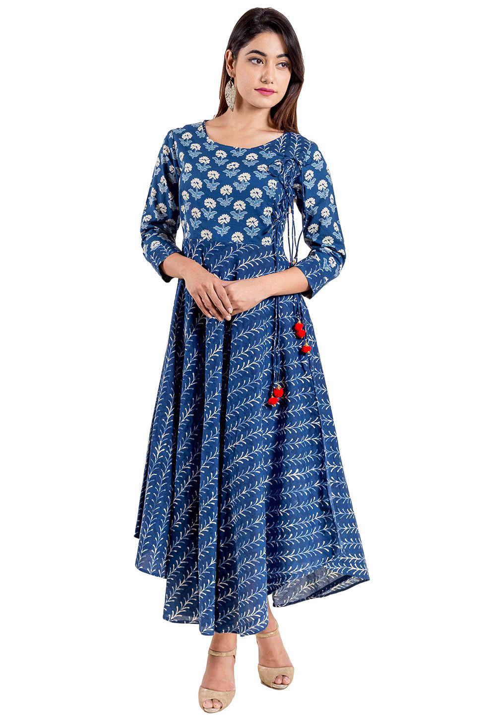 64570f8e482 Block Printed Cotton Flared Kurta in Indigo Blue   TQM139
