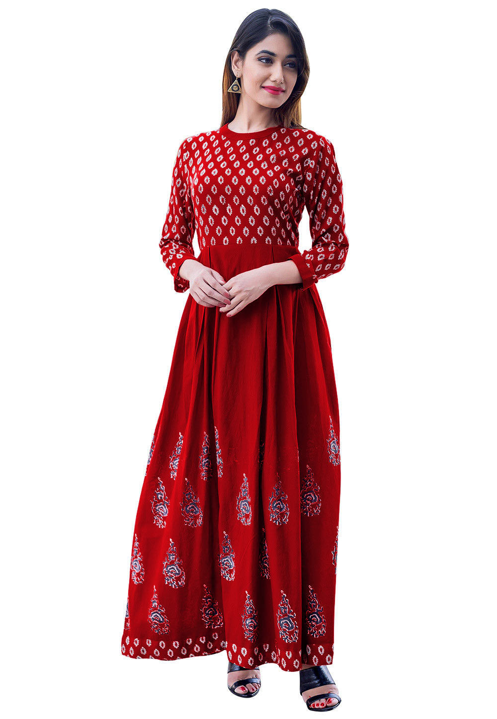 Block Printed Cotton Flared Kurta in Maroon