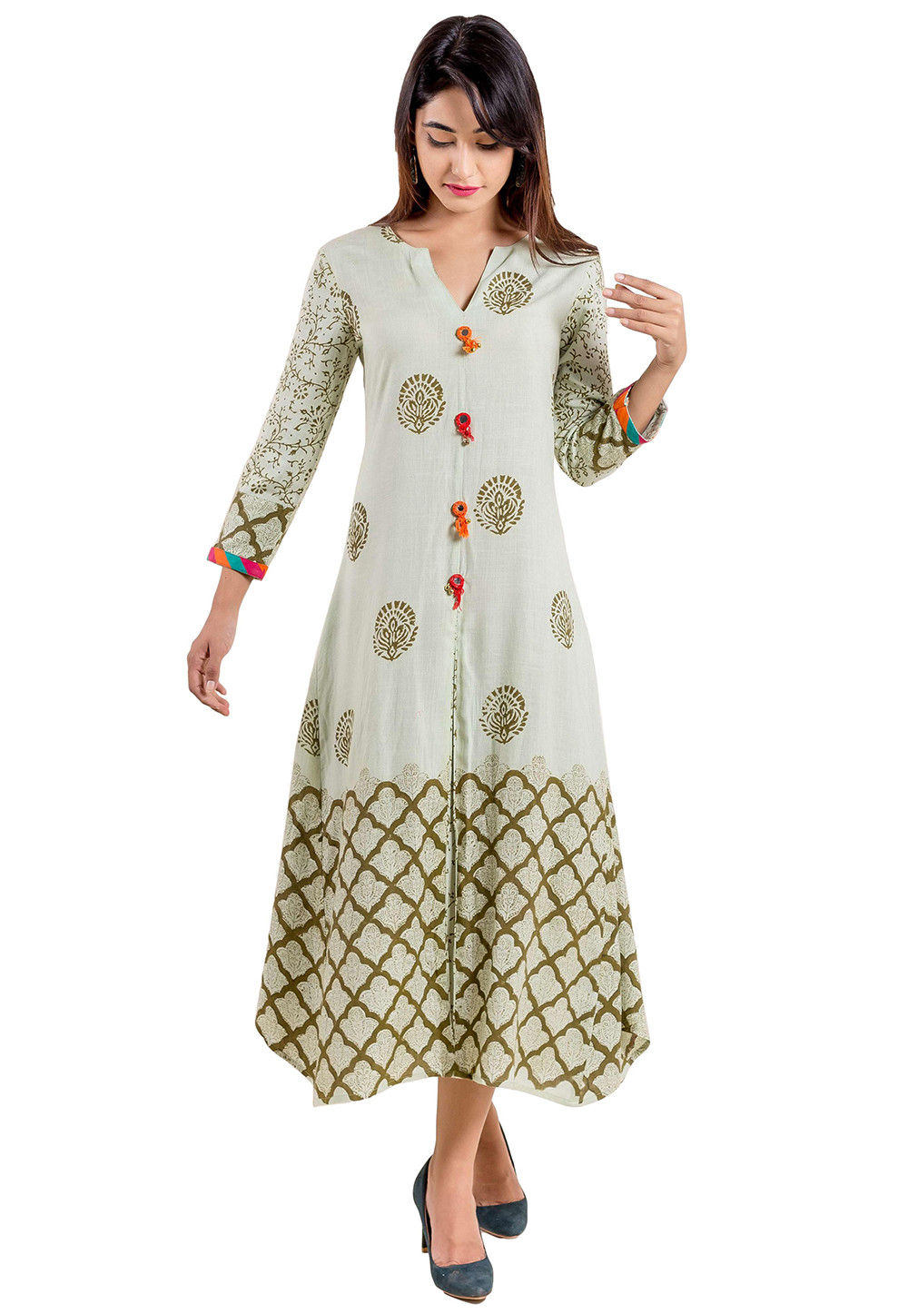 Block Printed Cotton Front Slit Kurta in Off White