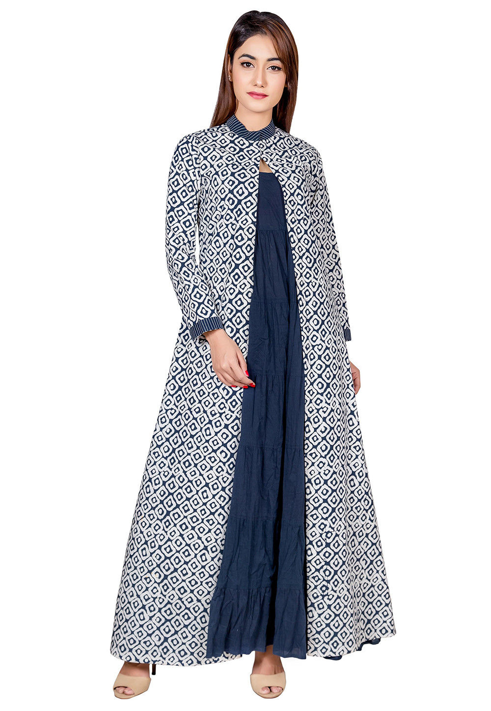 Block Printed Cotton Jacket Style Kurta in Blue and White