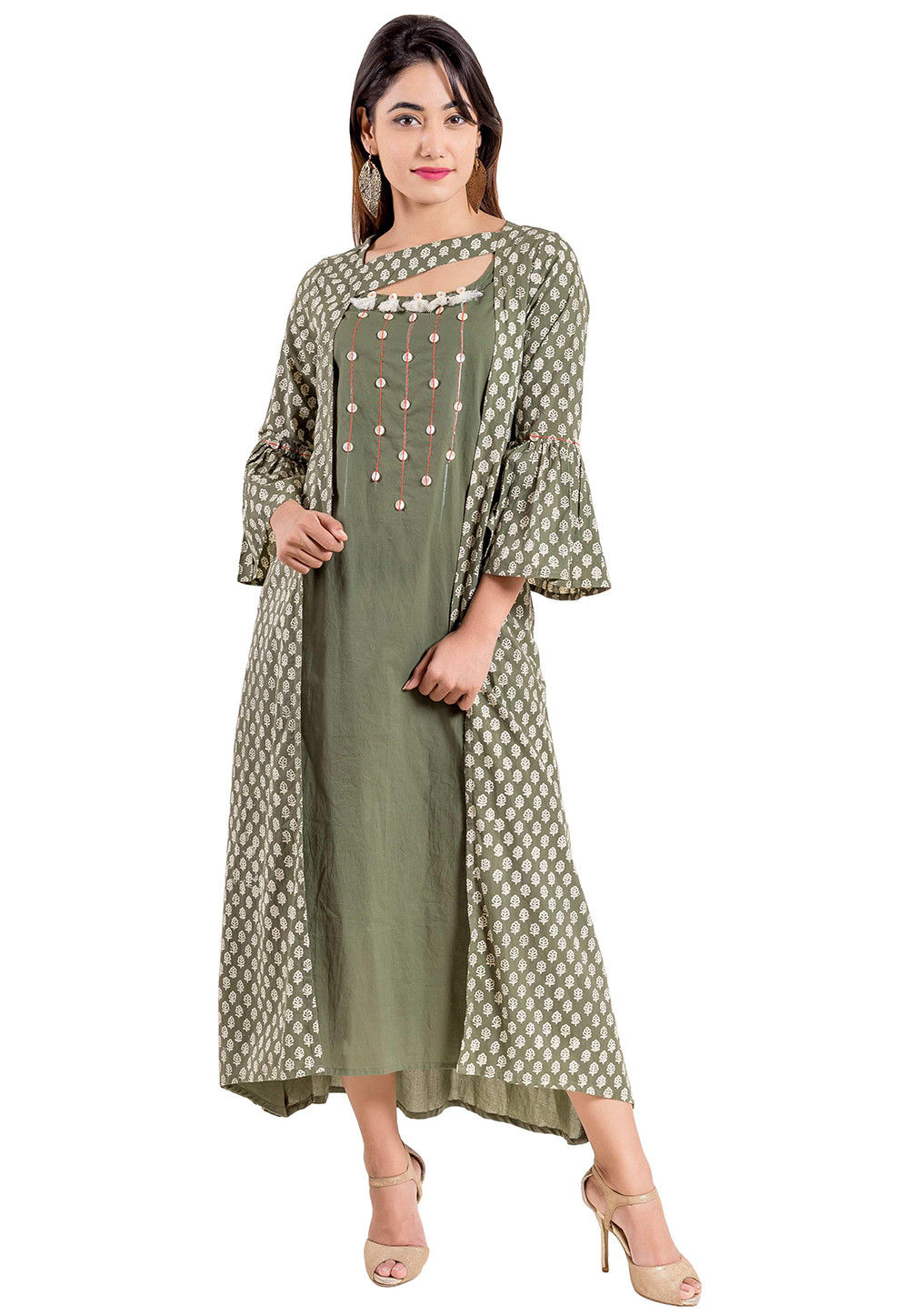 Block Printed Cotton Kurta in Dusty Olive Green