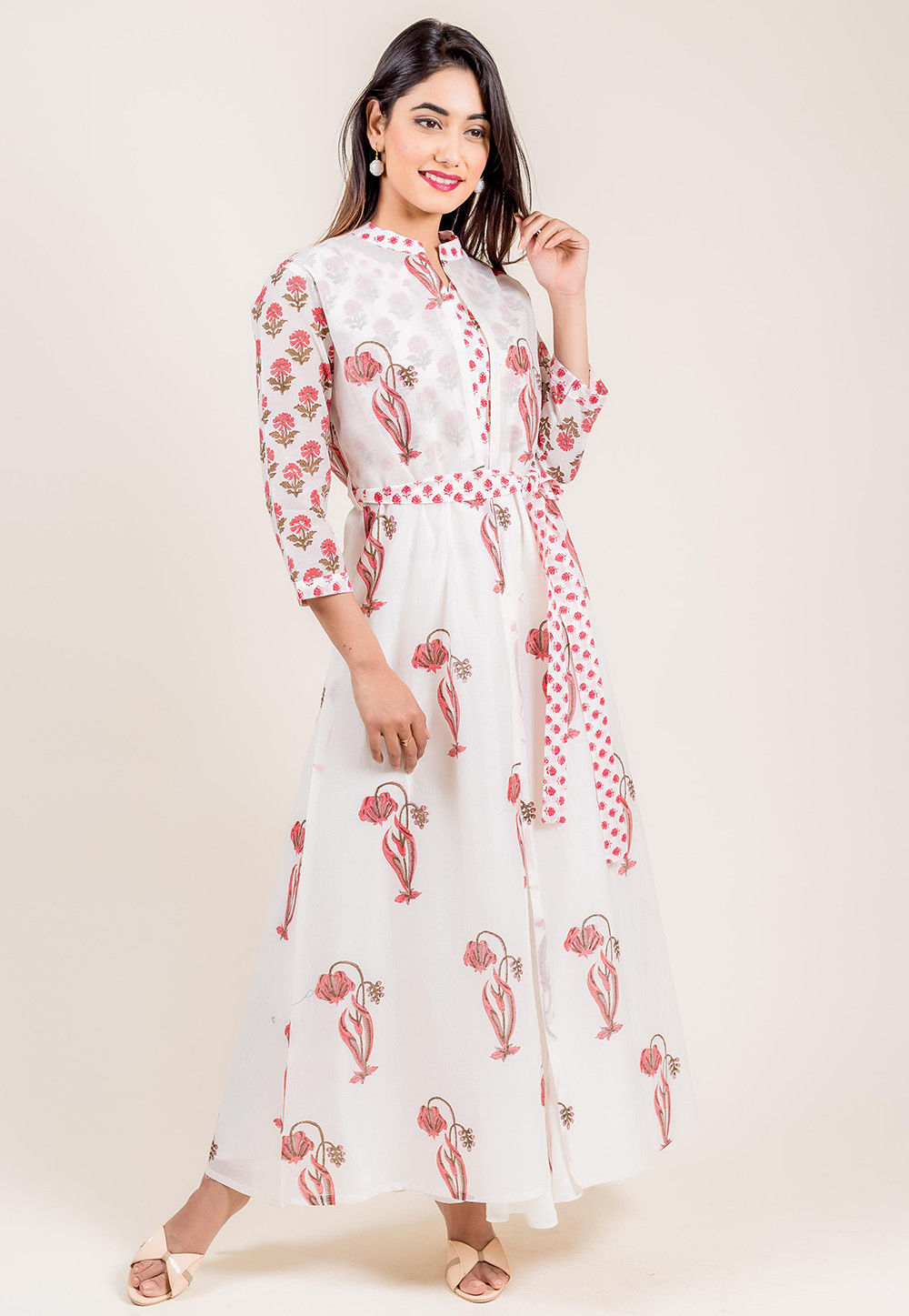 638e5243f043f ... Indowestern; Block Printed Cotton Long Dress in White. Zoom