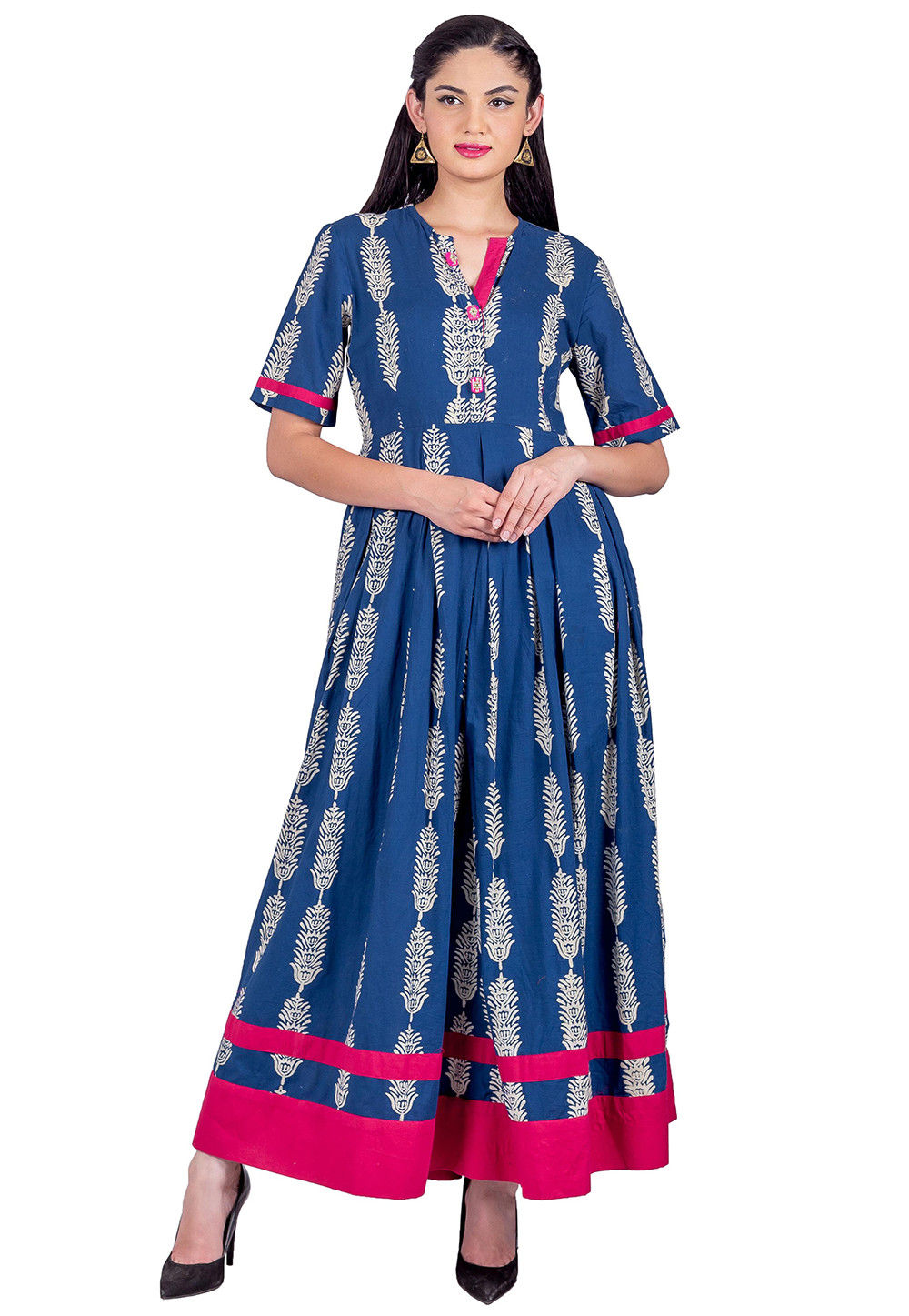 Block Printed Cotton Long Pleated Kurta in Indigo Blue