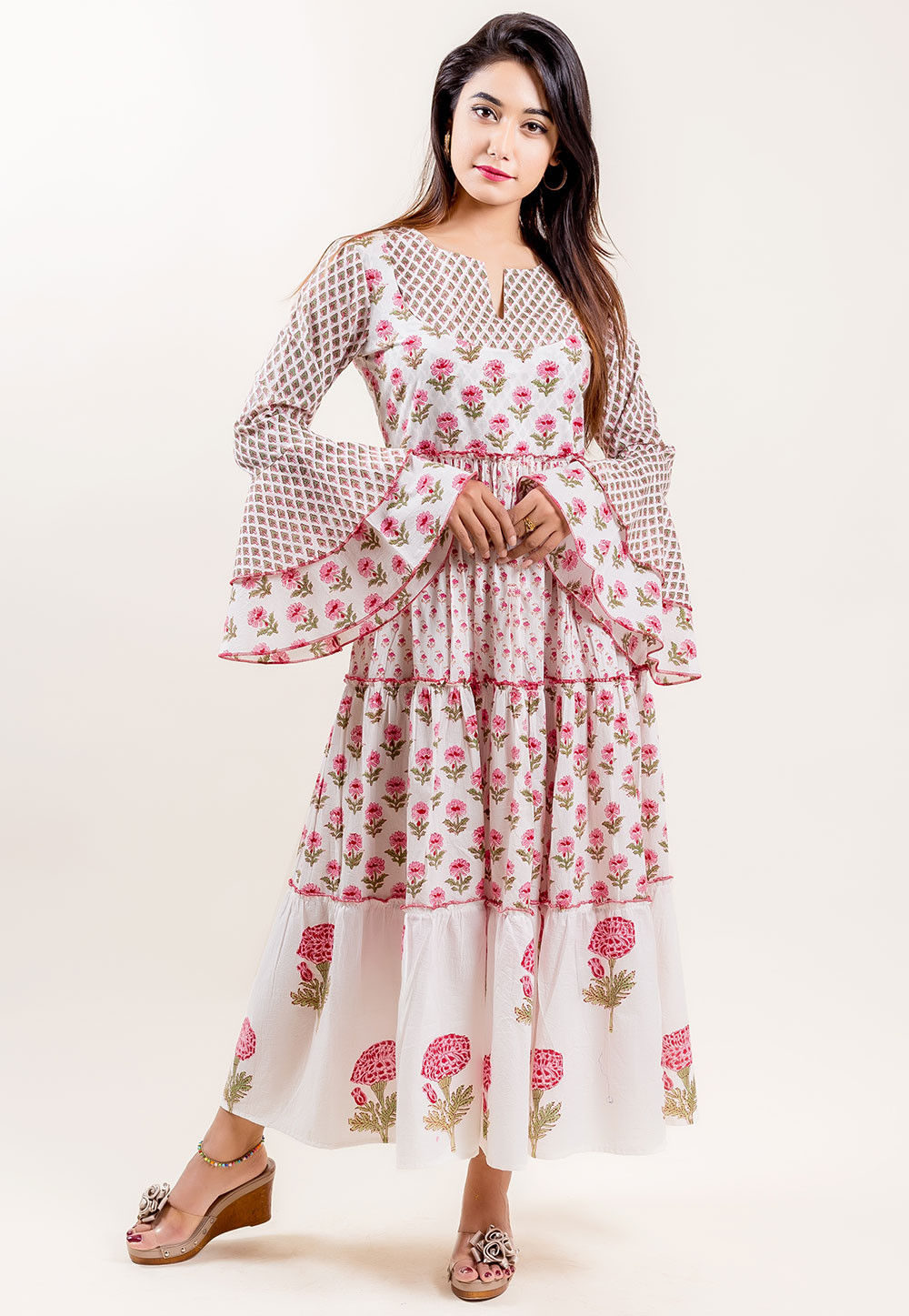 Block Printed Cotton Tiered Dress in Off White and Pink 9f587033a