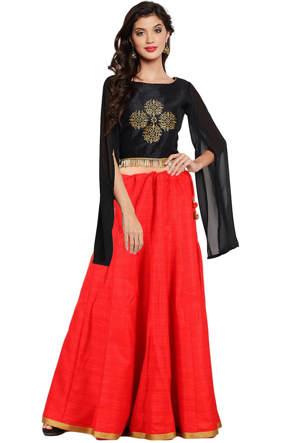 fc56817e3b Block Printed Dupion Silk Crop Top with Skirt in Black and Red : TRB1169