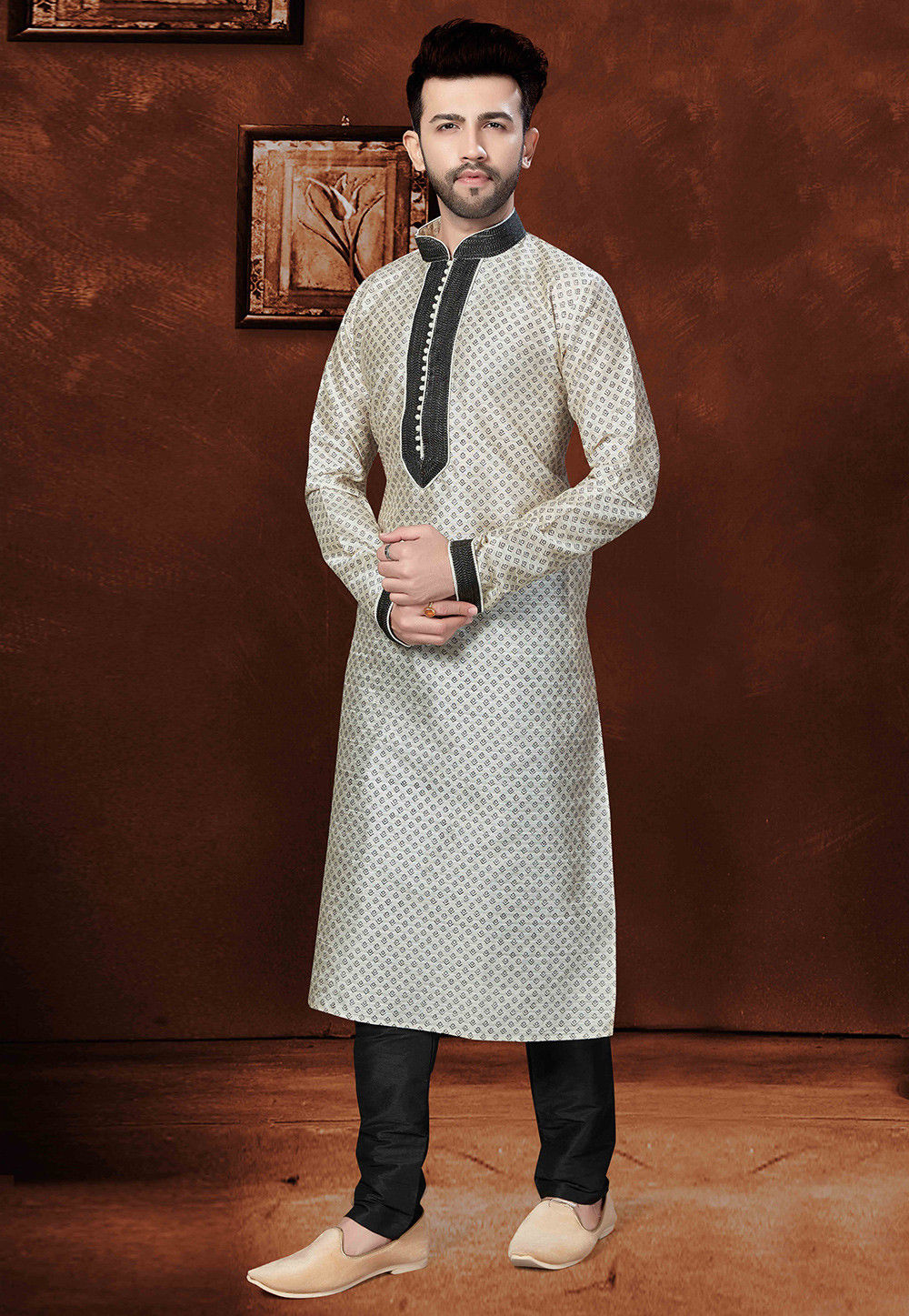 Block Printed Dupion Silk Kurta Set in Off White