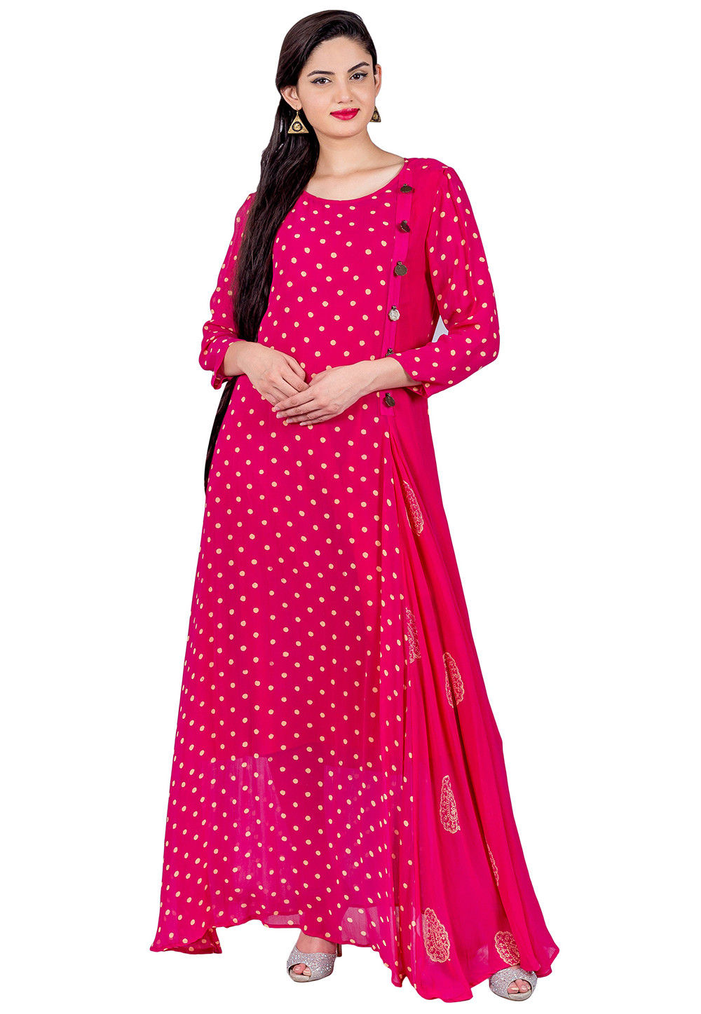 Block Printed Georgette Flared Kurta in Fushia