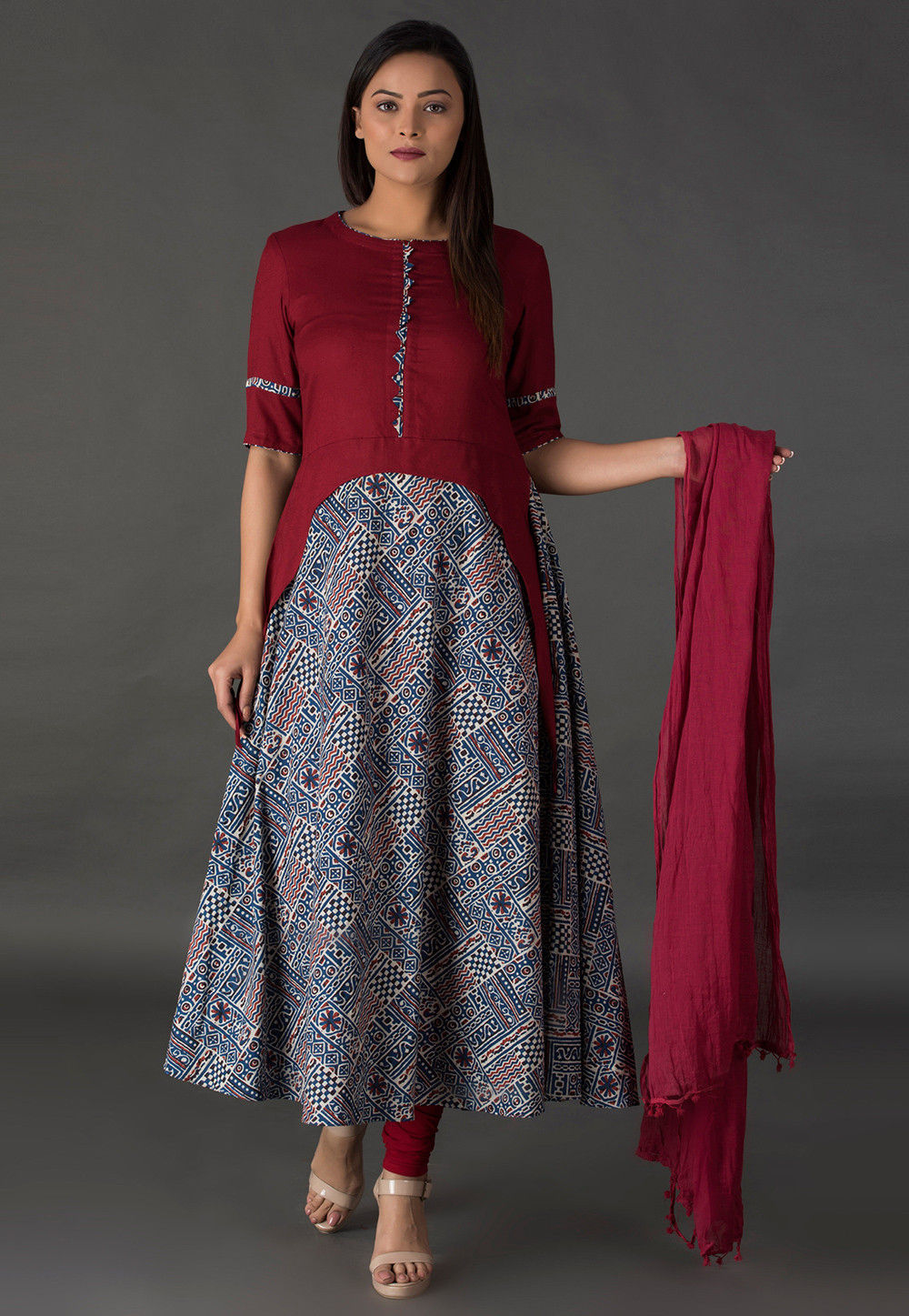 Block Printed Rayon A Line Suit in Maroon and Blue