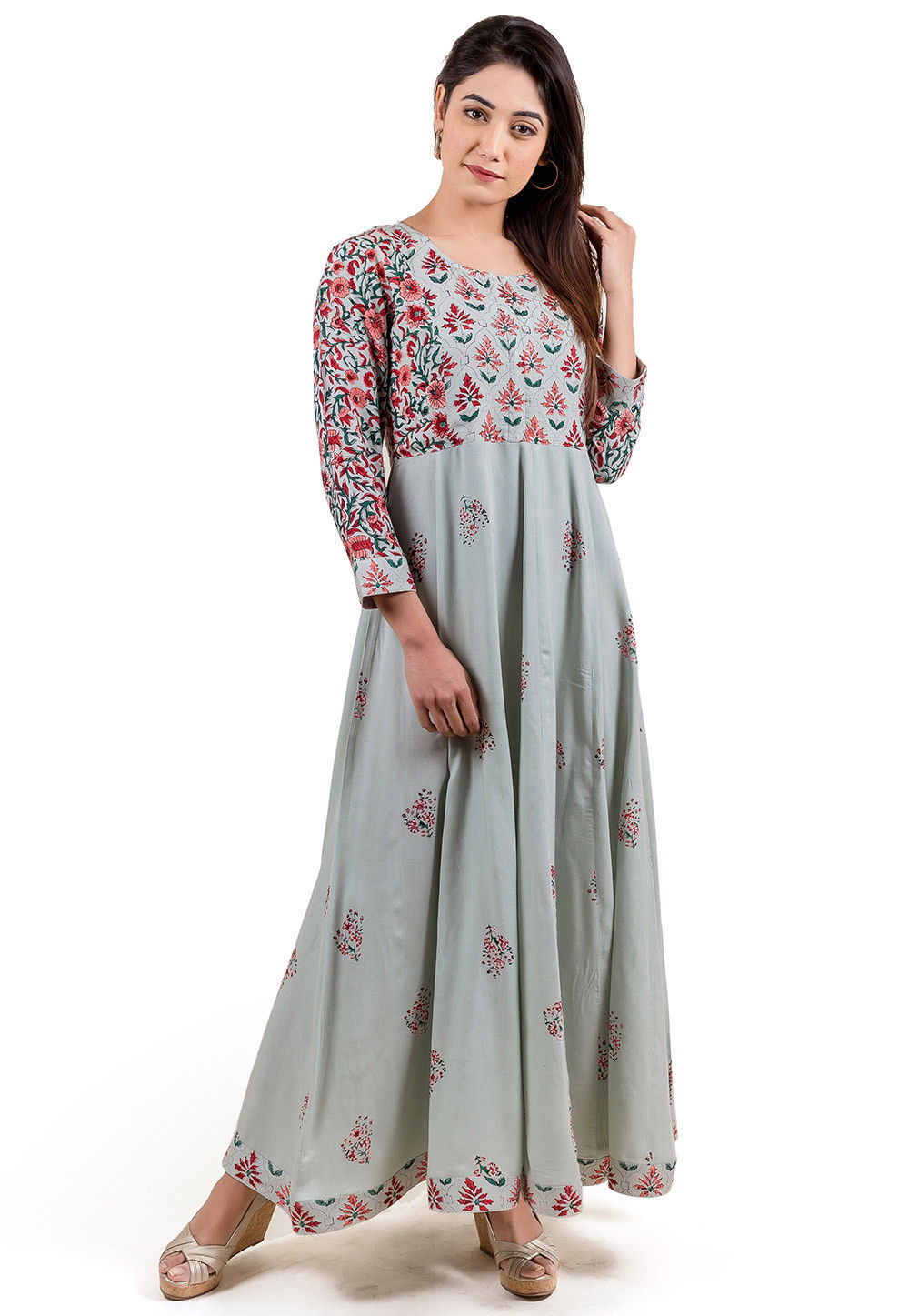 Block Printed Rayon Long Kurta in Light Grey