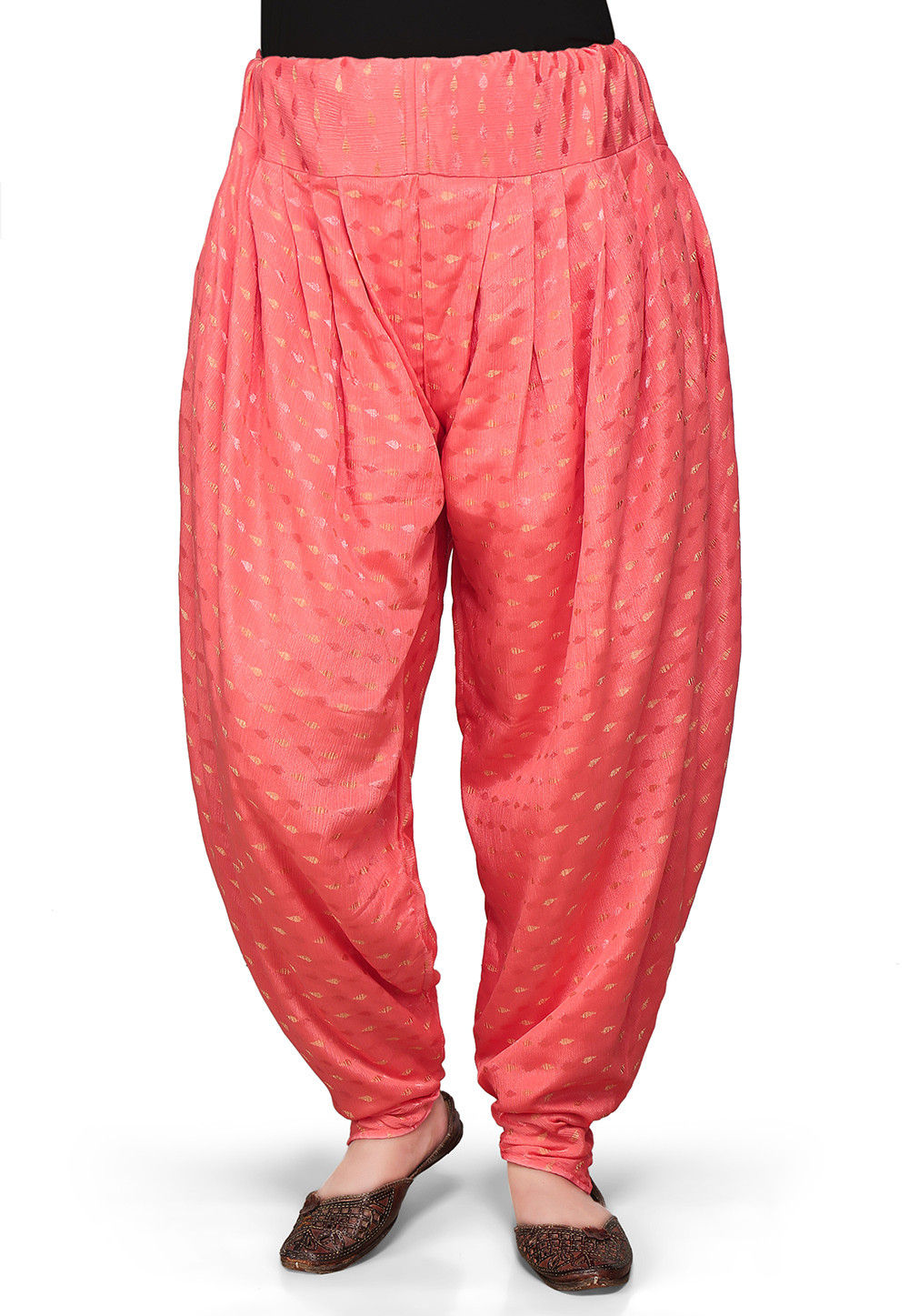 Chinon Viscose Dhoti Pant In Coral