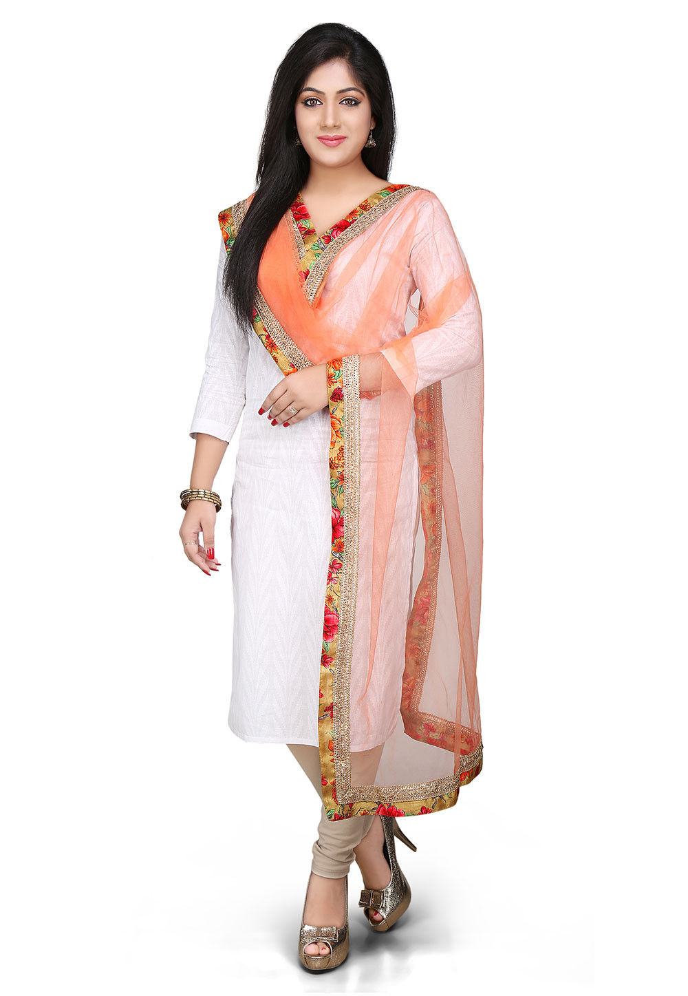 Patch Border Net Dupatta in Peach