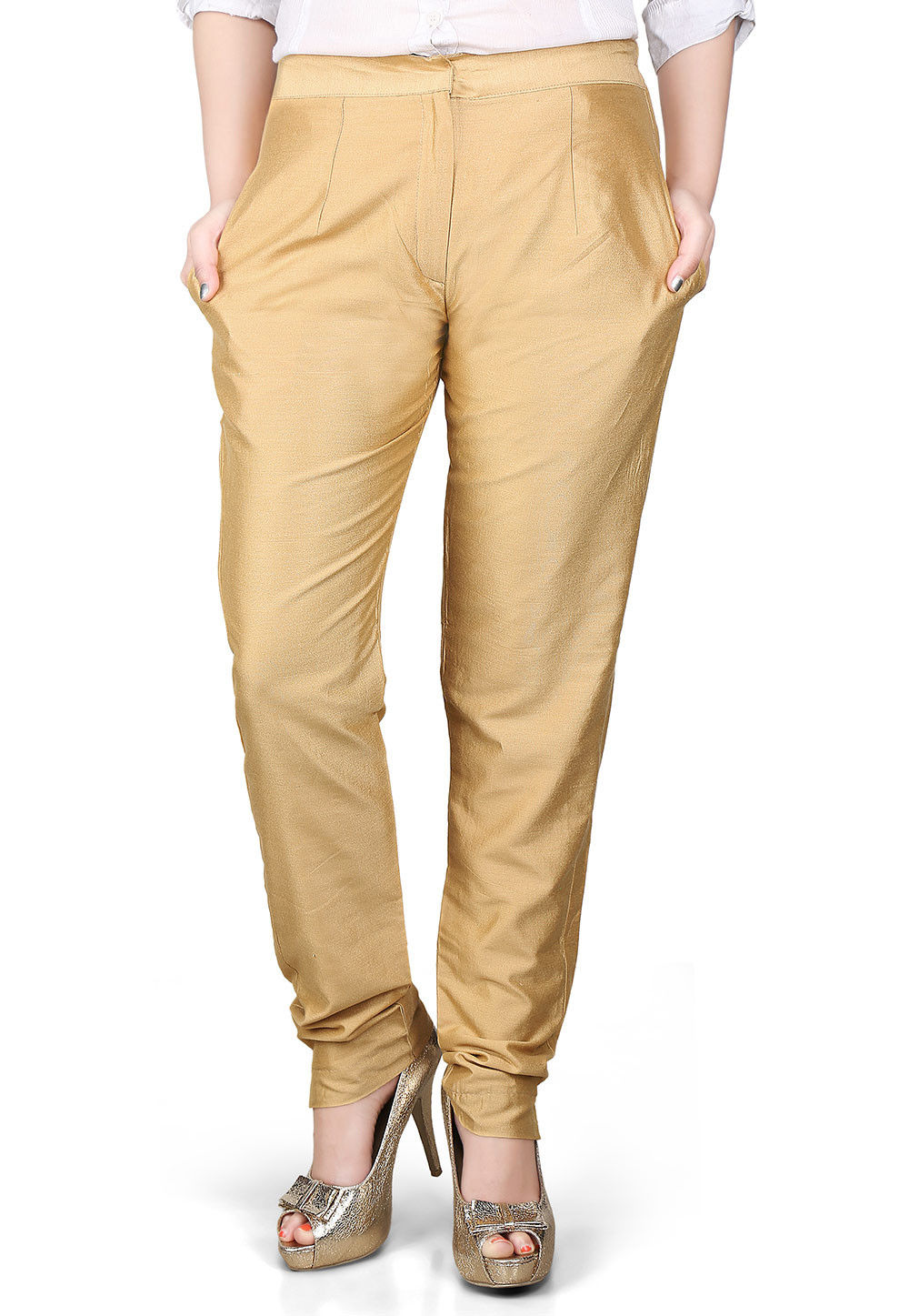 Solid Cotton Silk Pant in Beige