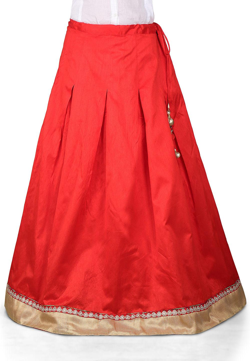 Plain Dupion Art Silk Skirt in Red