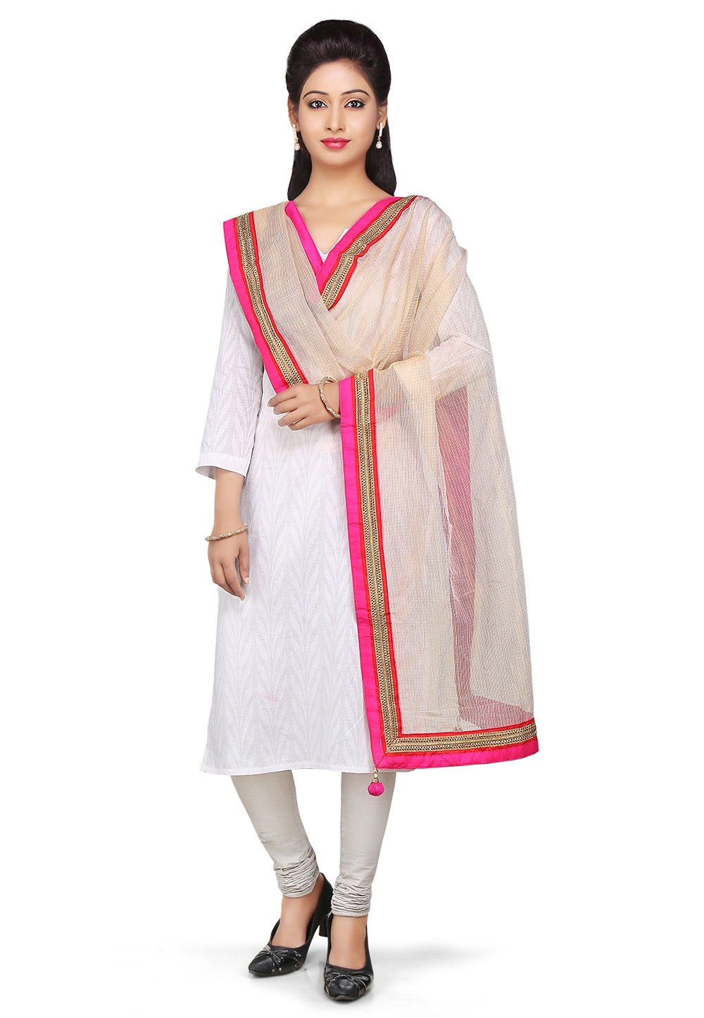 Patch Border Pure Kota Silk Dupatta in Beige