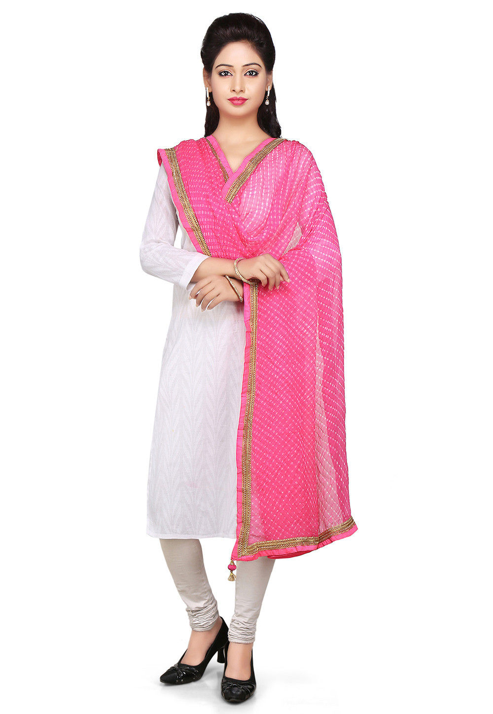 Printed Pure Georgette Dupatta in Pink