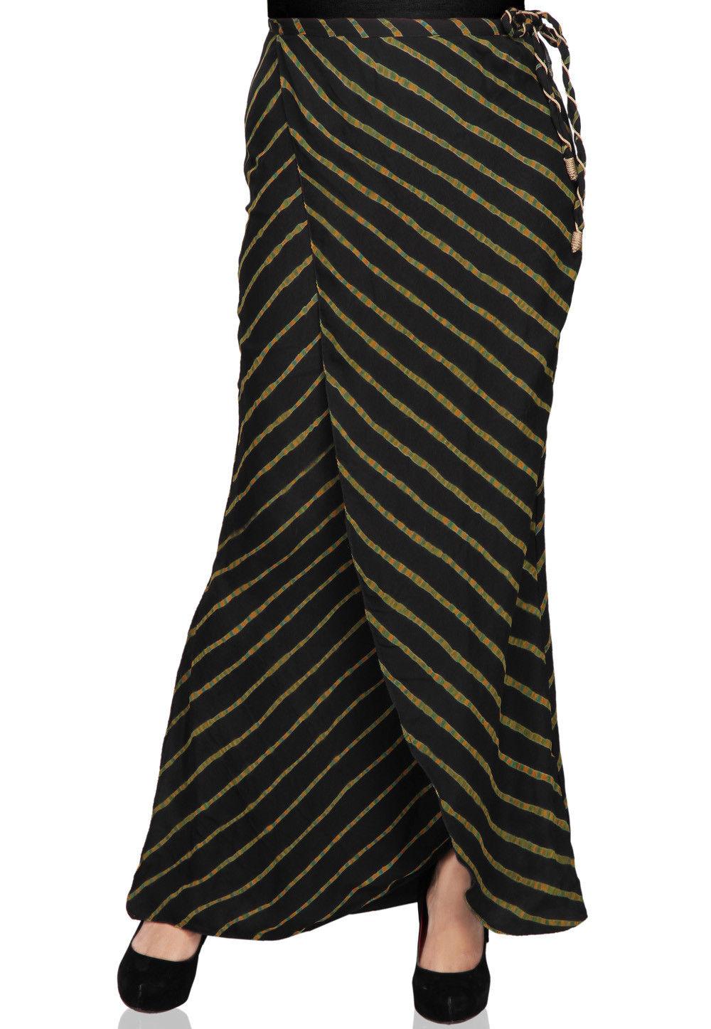 Leheriya Printed Pure Georgette Long Skirt in Black