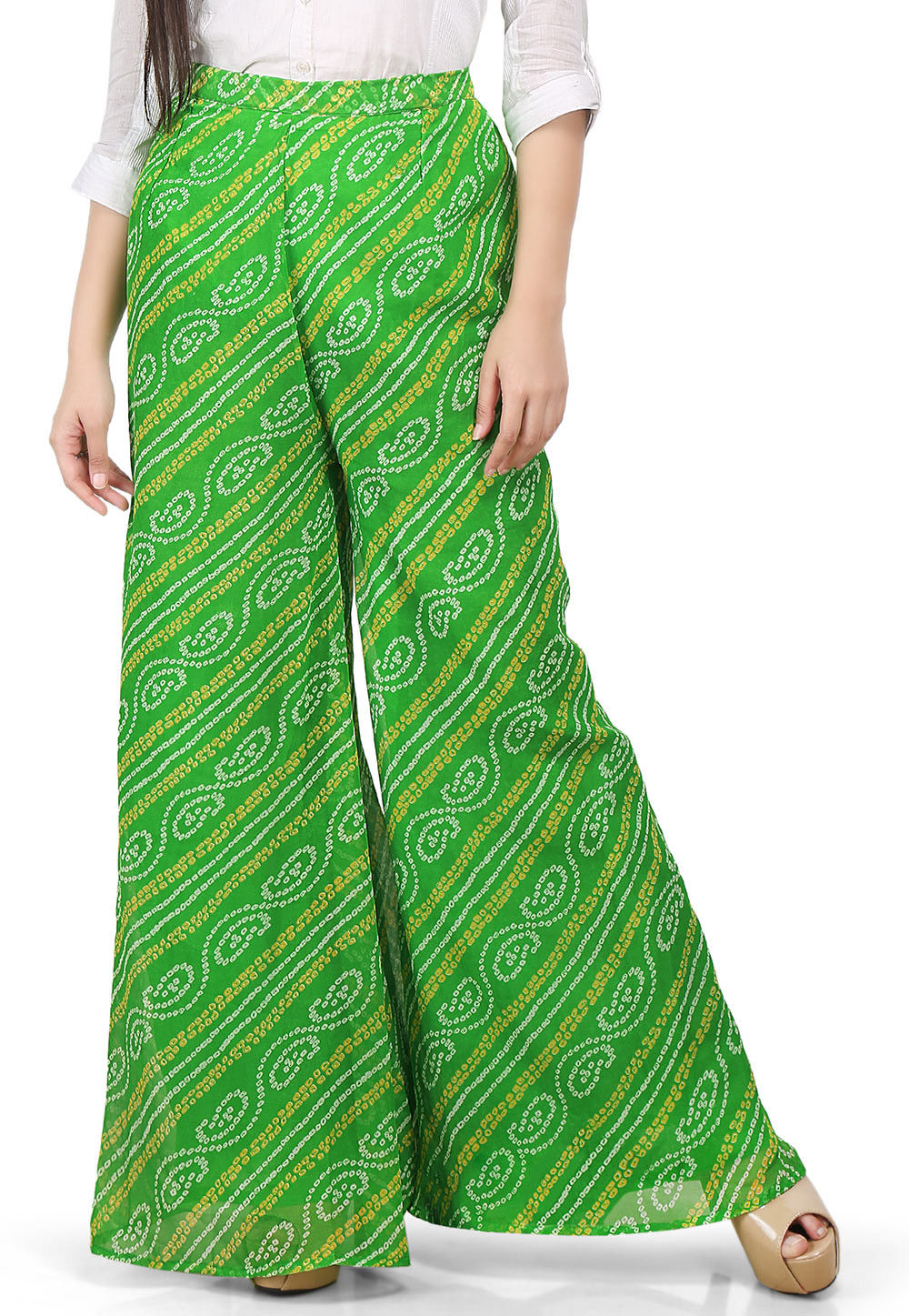 Bandhej Printed Georgette Palazzo in Green
