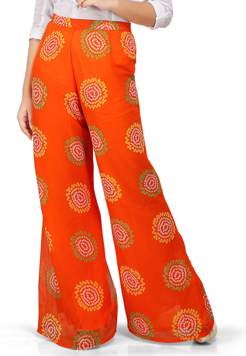 Bandhej Printed Georgette Palazzo in Orange