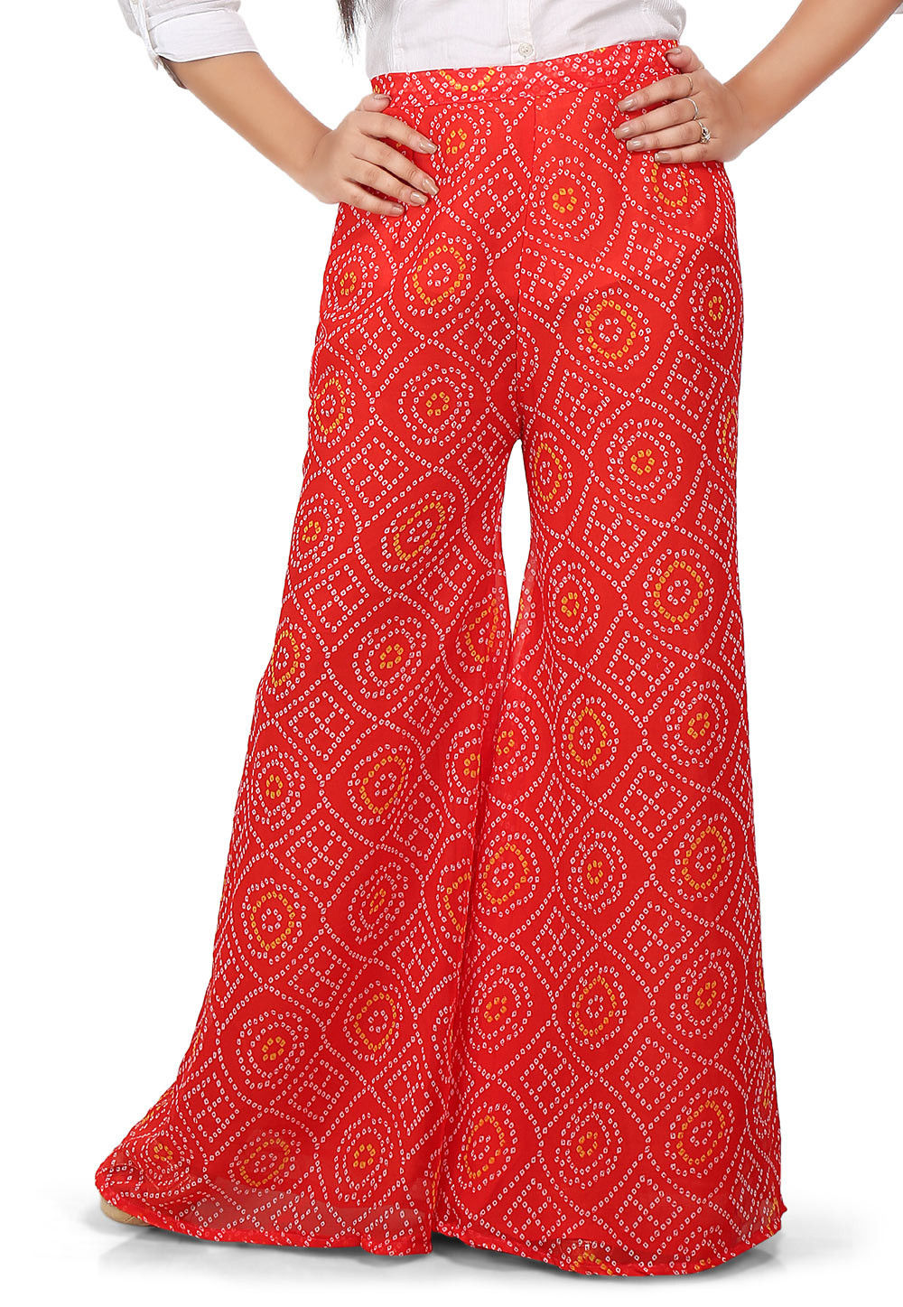 Bandhej Printed Georgette Palazzo in Red