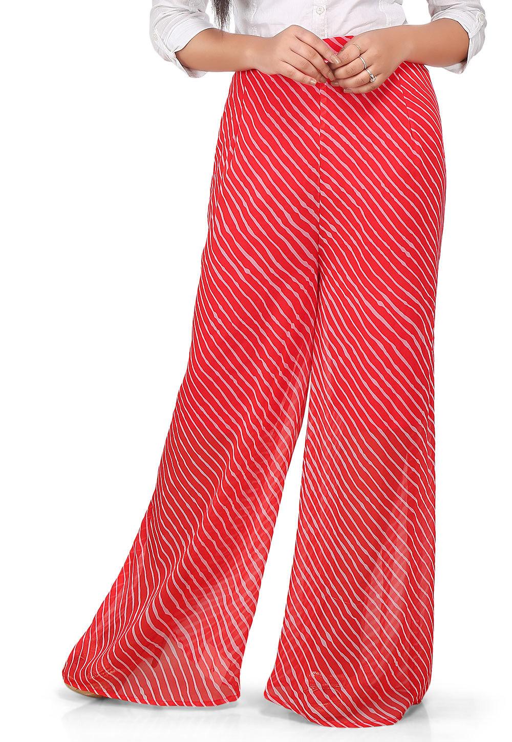 Lehariya Printed Georgette Palazzo in Red