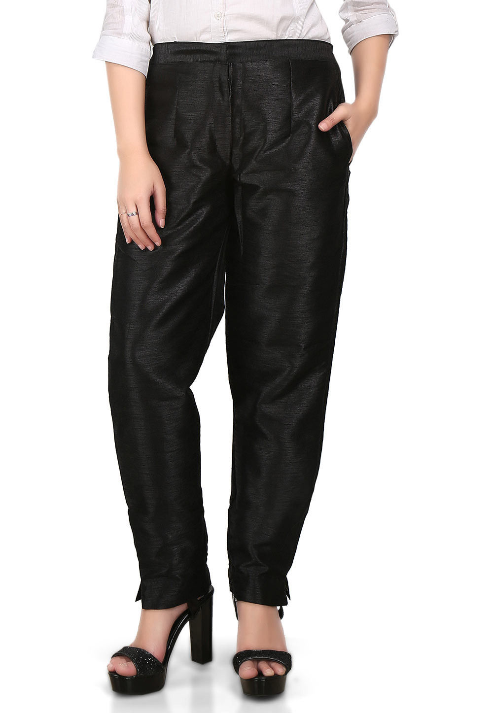 Plain Art Dupion Silk Trouser in Black