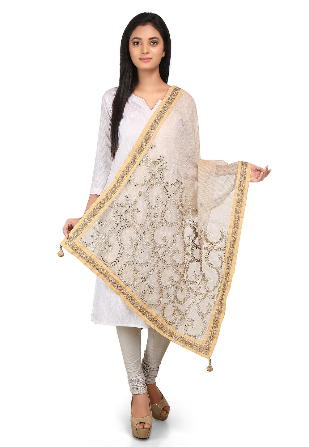 Embroidered Pure Kota Tissue Dupatta in Beige